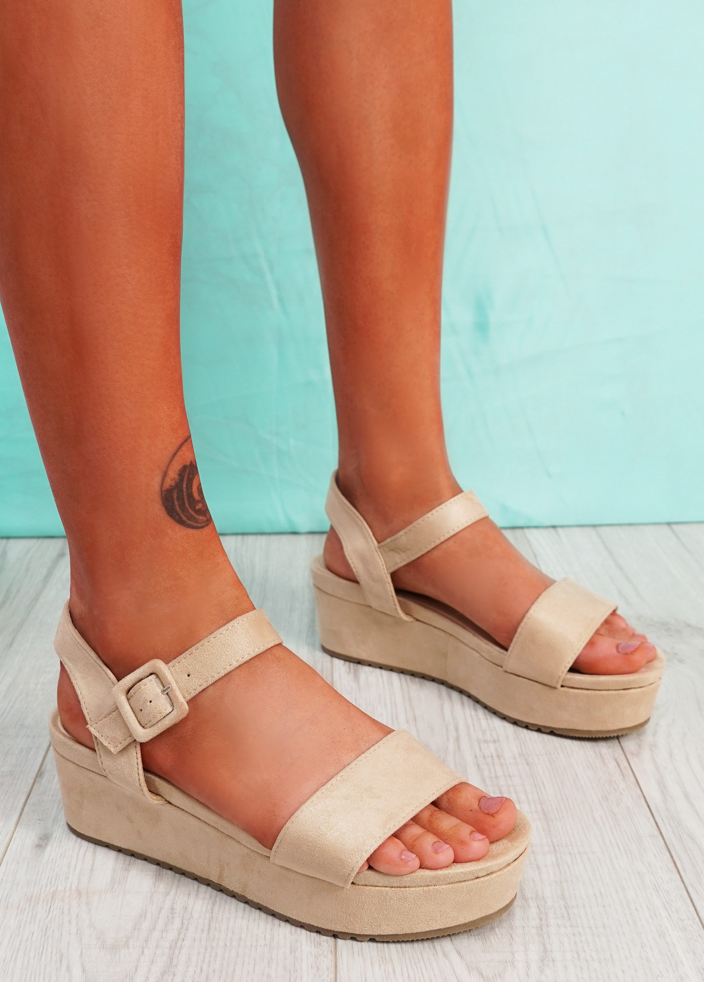 Zonno Beige Platform Sandals