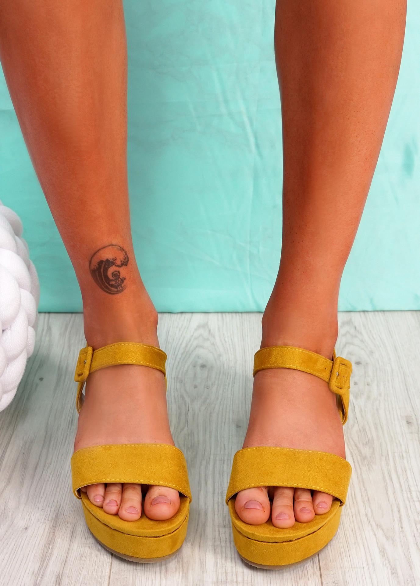 Zonno Yellow Platform Sandals