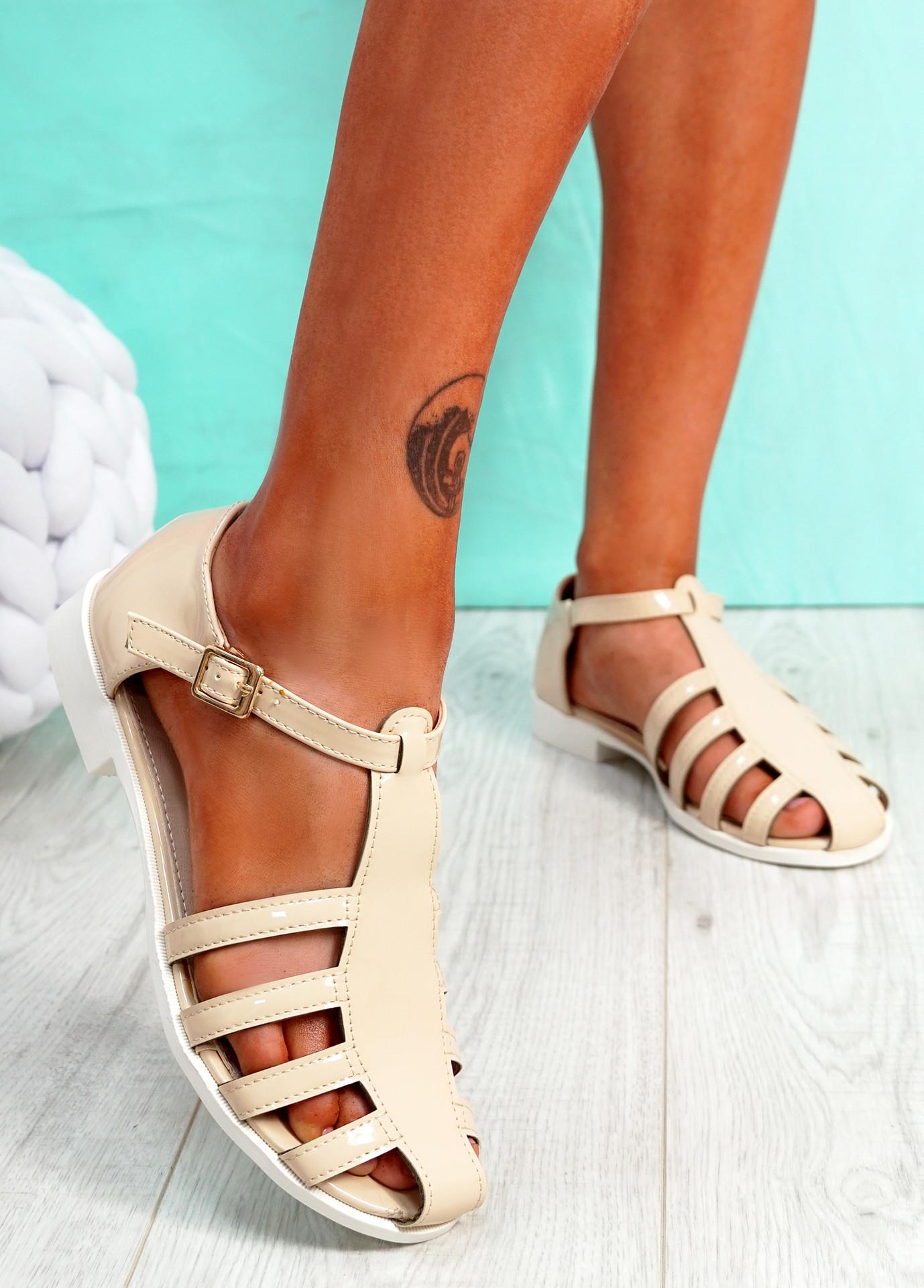 Fedde Beige Flat Sandals