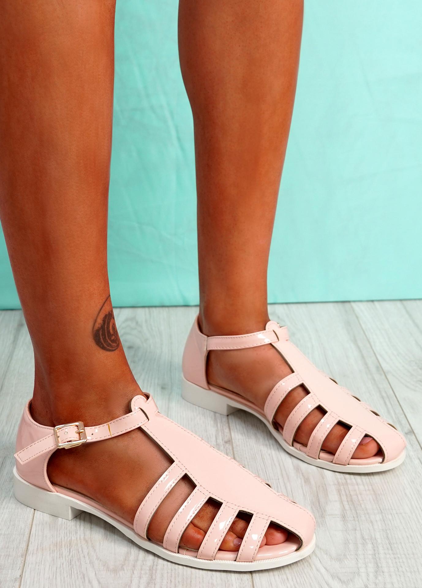 Fedde Pink Flat Sandals