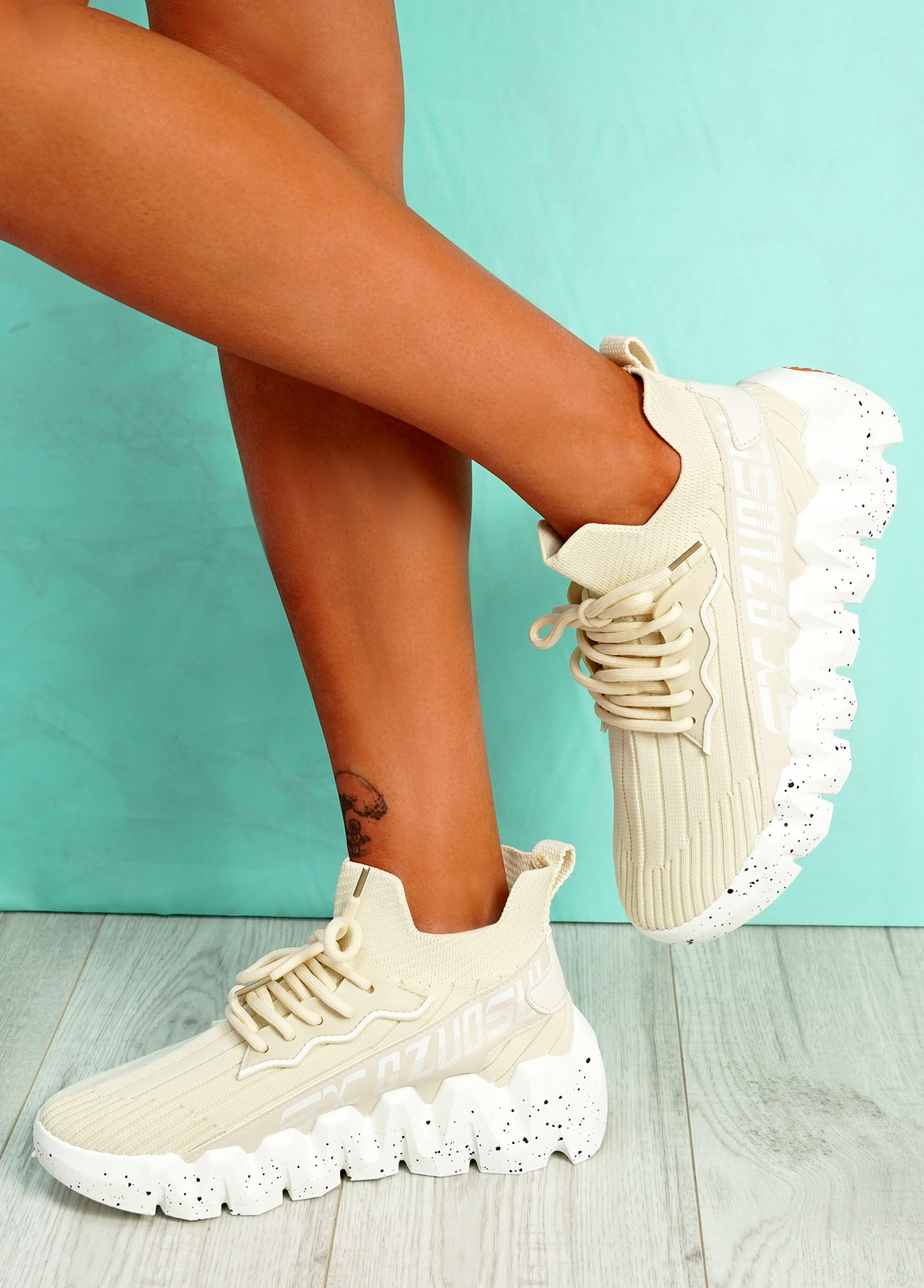 Manna Beige Chunky Sneakers
