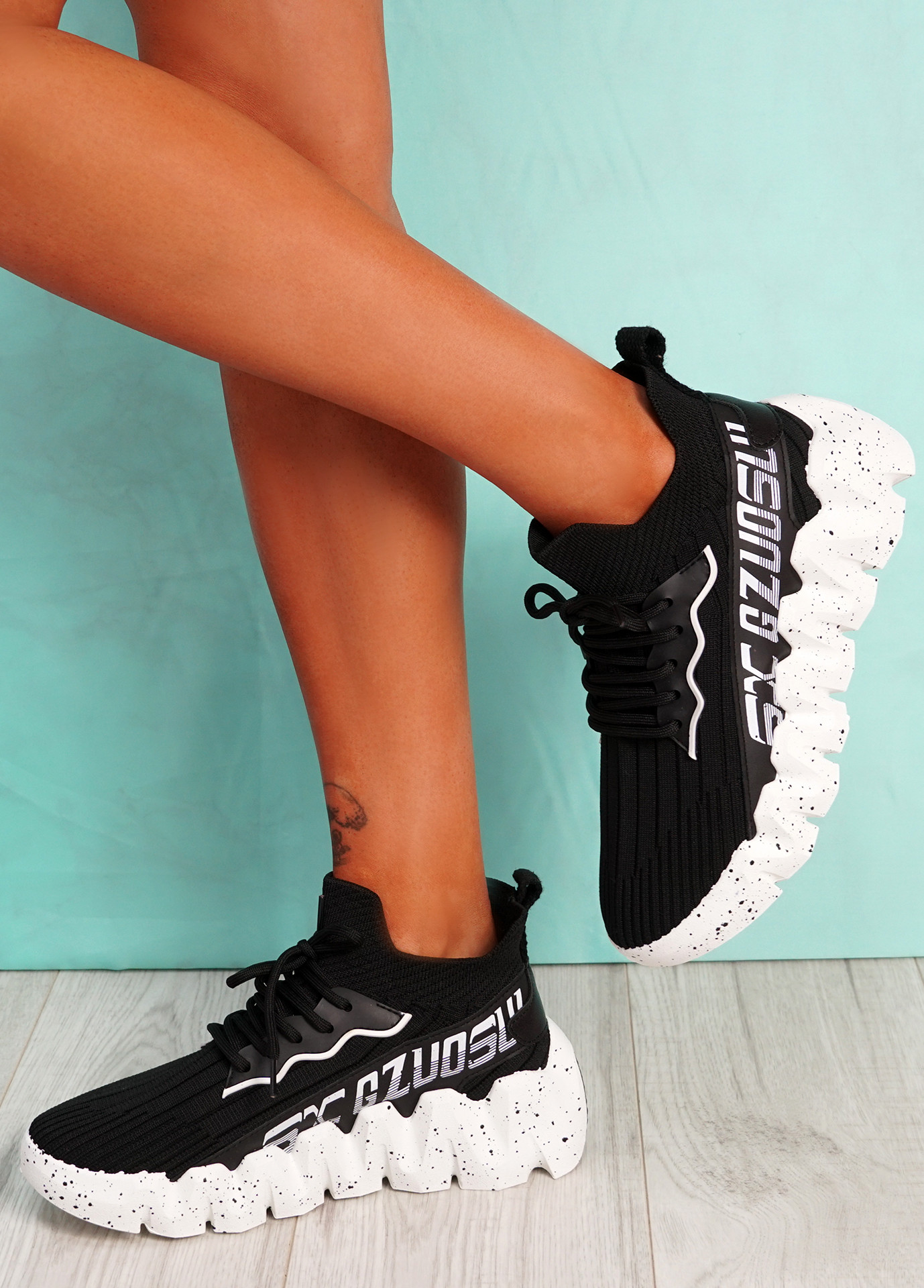 Manna Black White Sole Chunky Sneakers