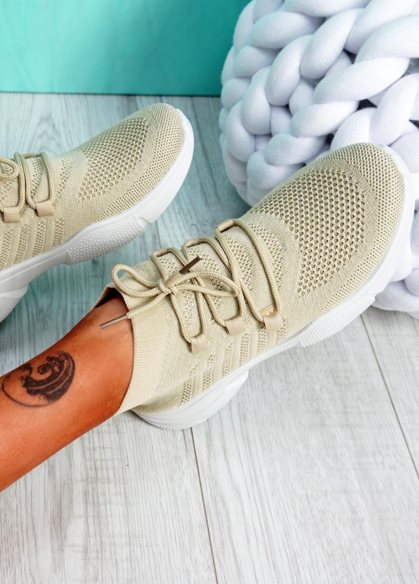 Dinni Beige Sock Sneakers