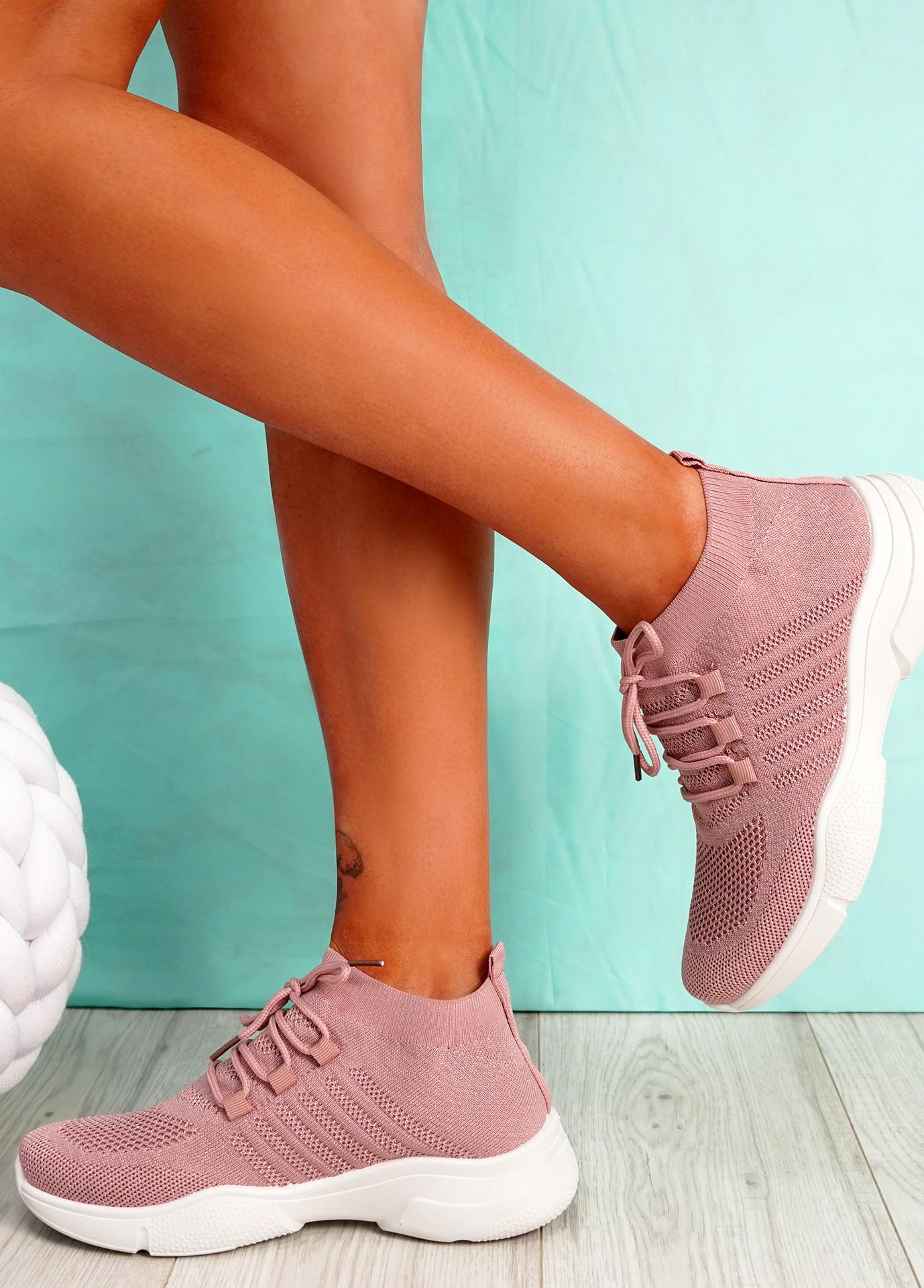 Dinni Dark Pink Sock Sneakers