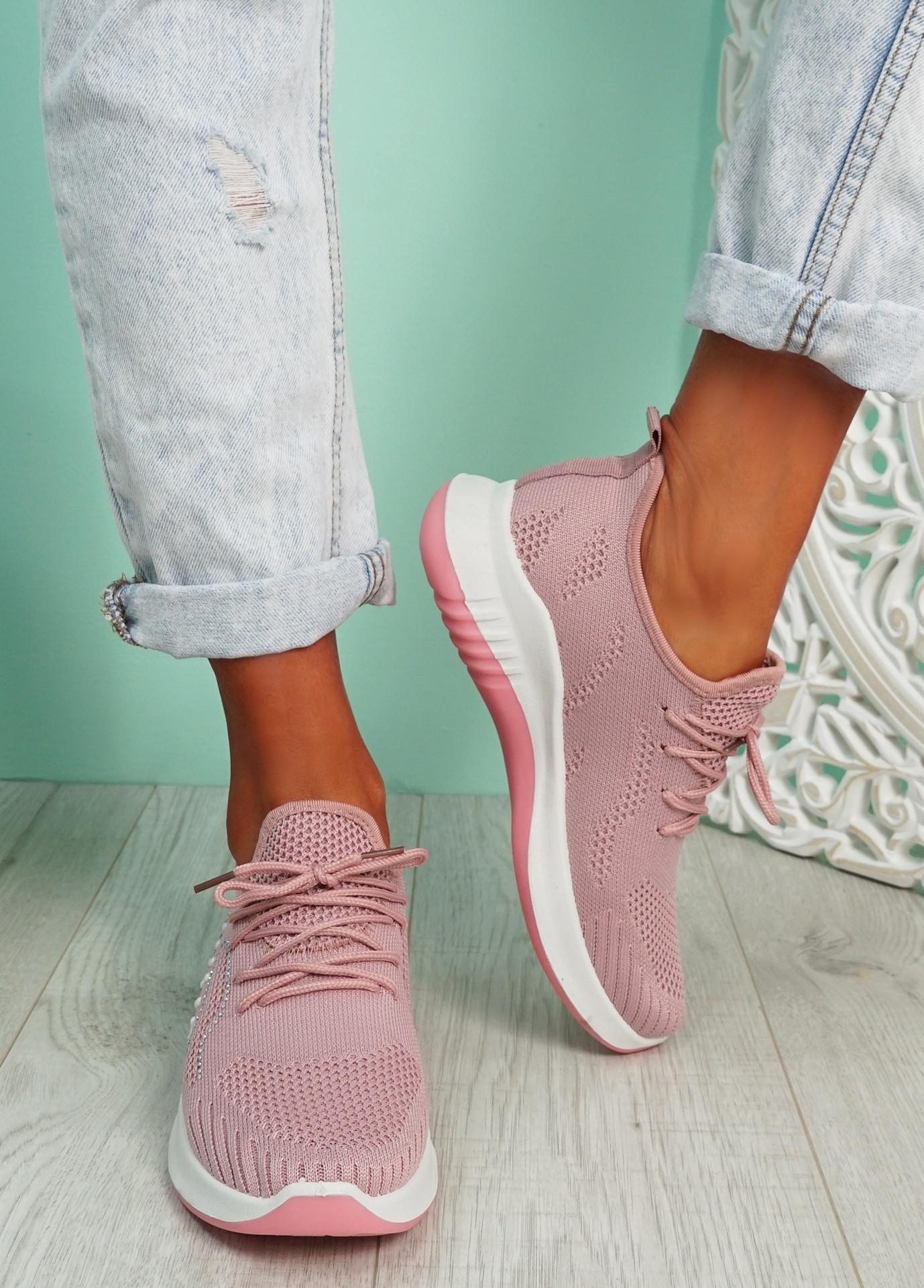 Kara Pink Studded Trainers