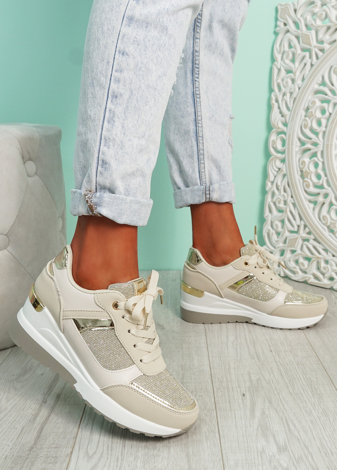 Valla Gold Wedge Trainers