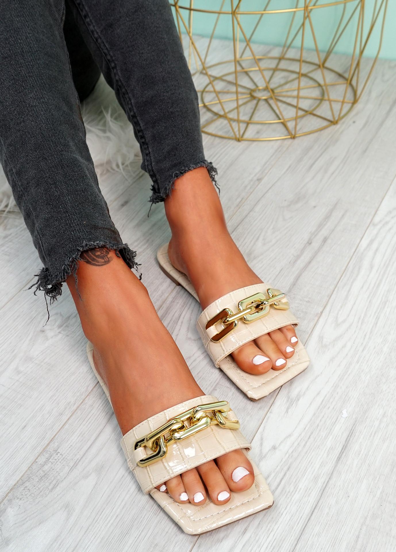 Loxy Beige Croc Pattern Flat Sandals