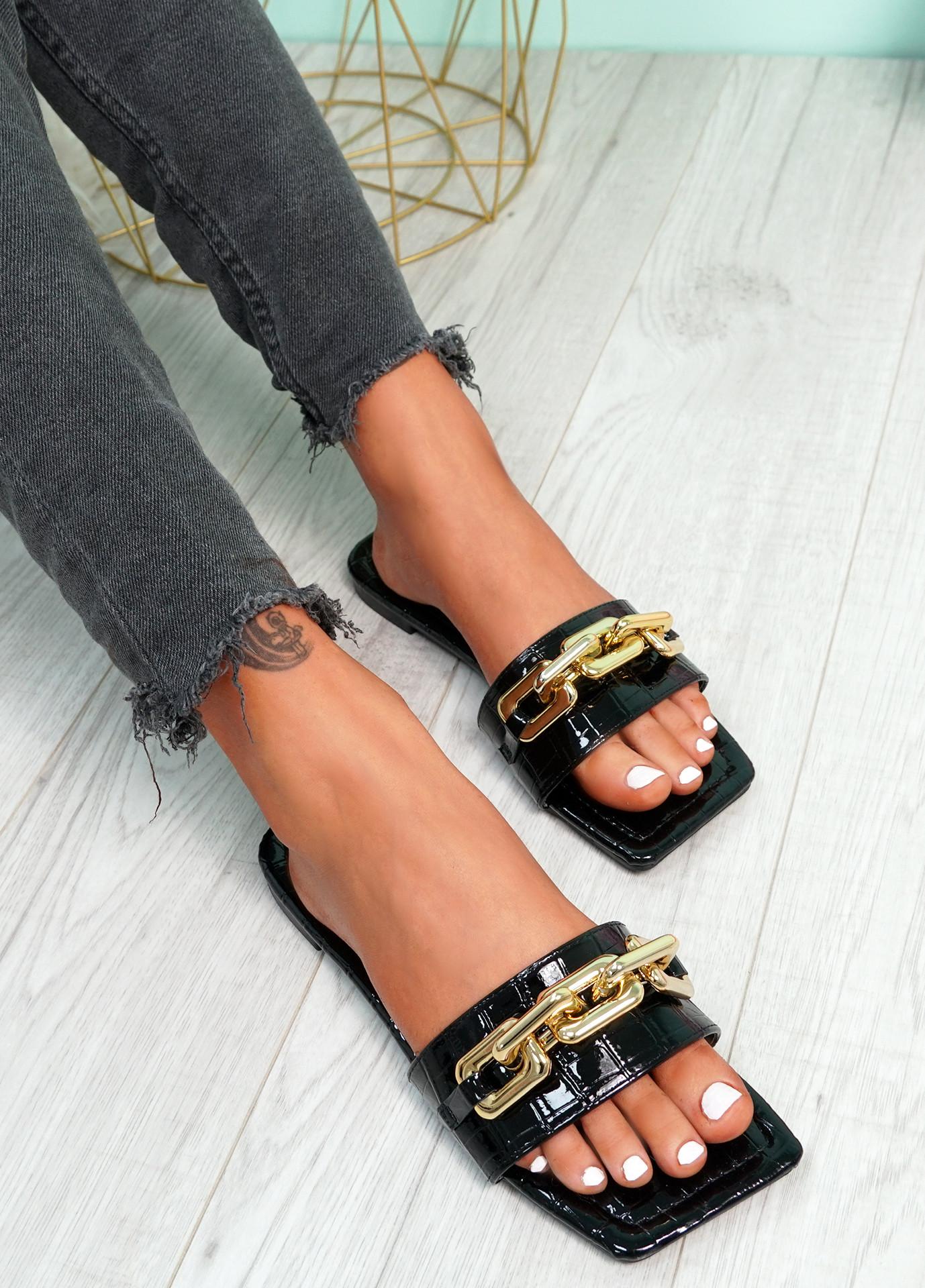 Loxy Black Croc Pattern Flat Sandals