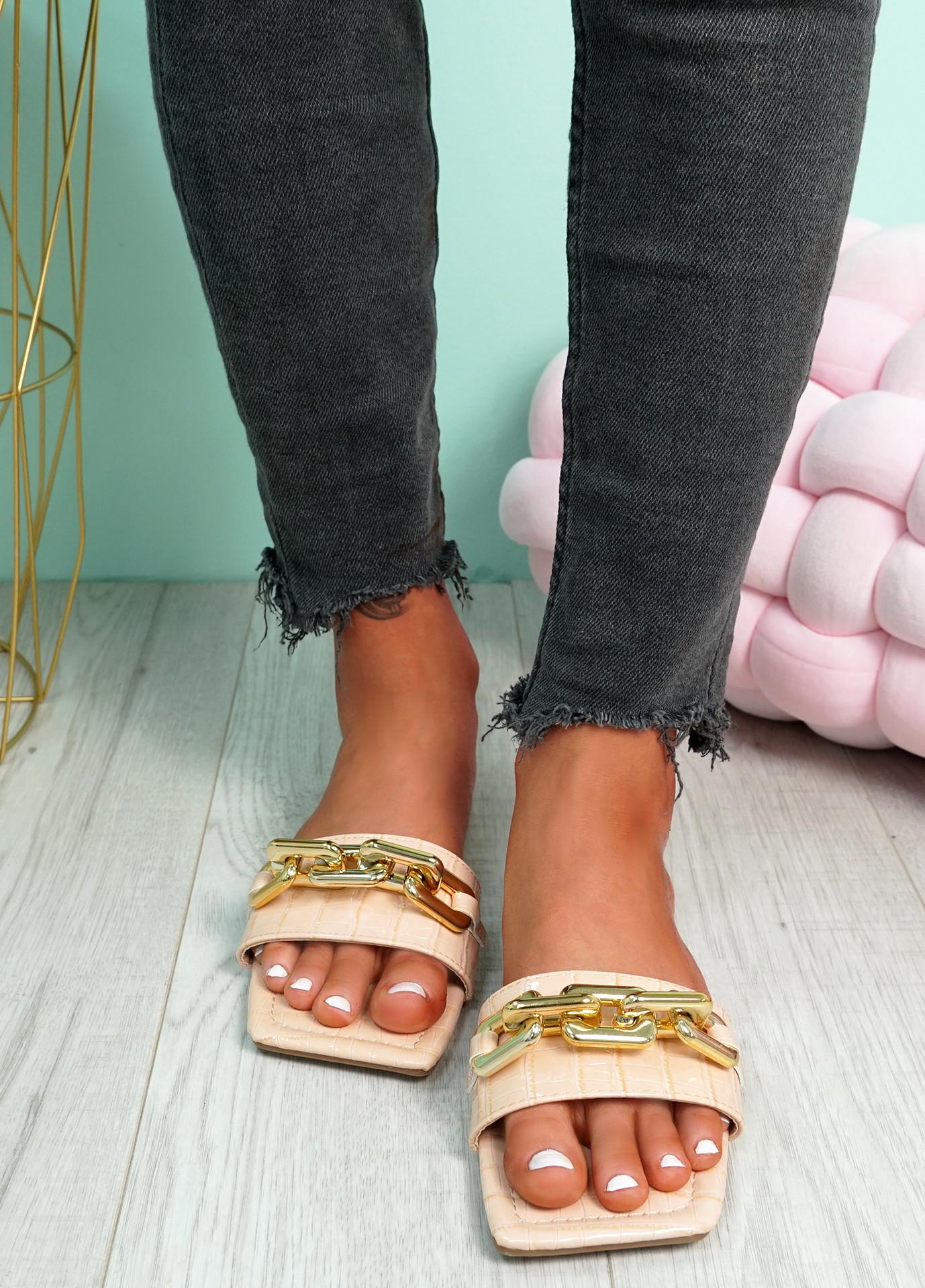 Loxy Light Pink Croc Pattern Flat Sandals