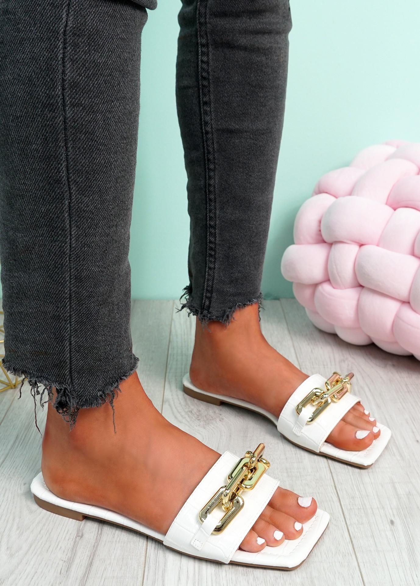 Loxy White Croc Pattern Flat Sandals