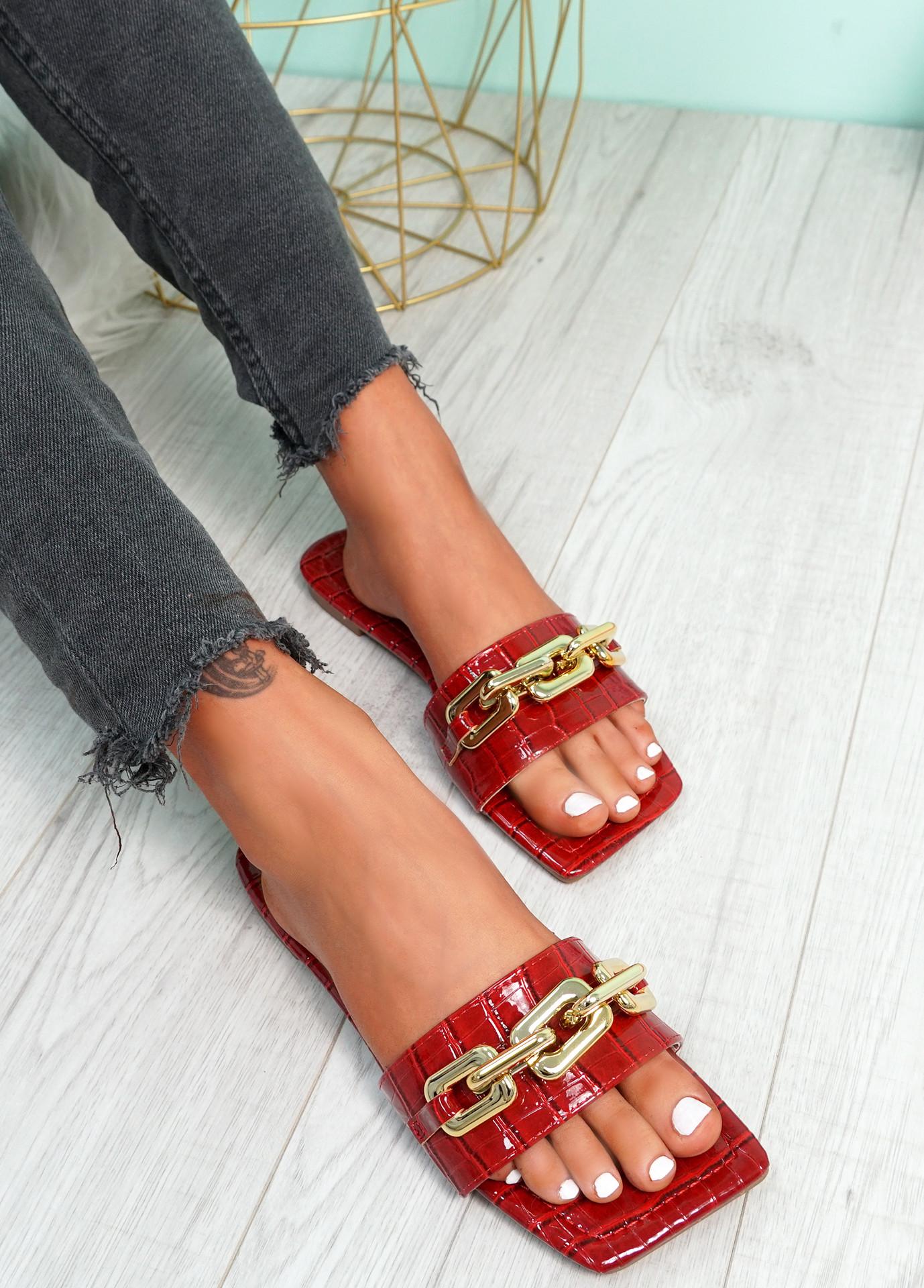 Loxy Wine Croc Pattern Flat Sandals