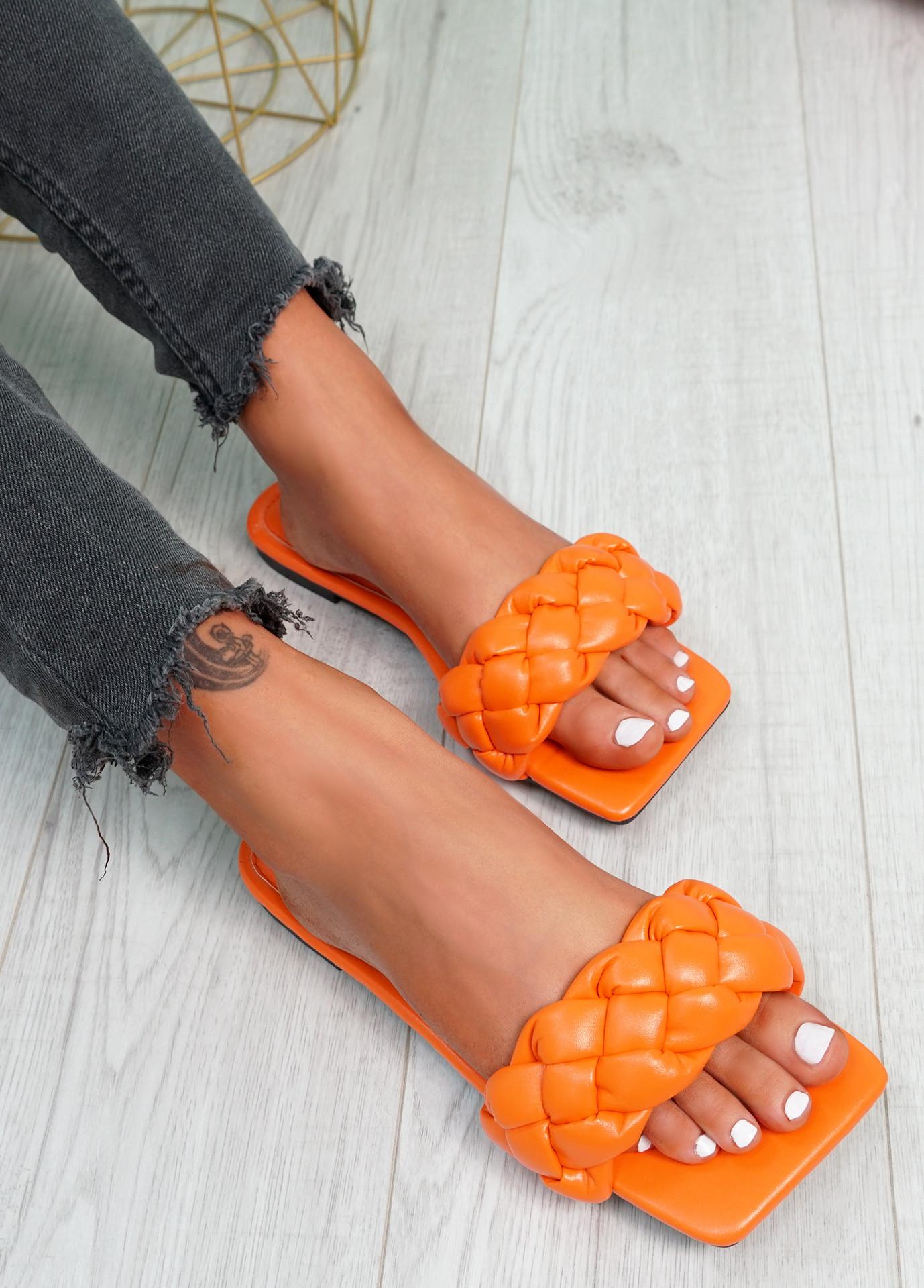 Sebba Orange Square Toe Flat Sandals
