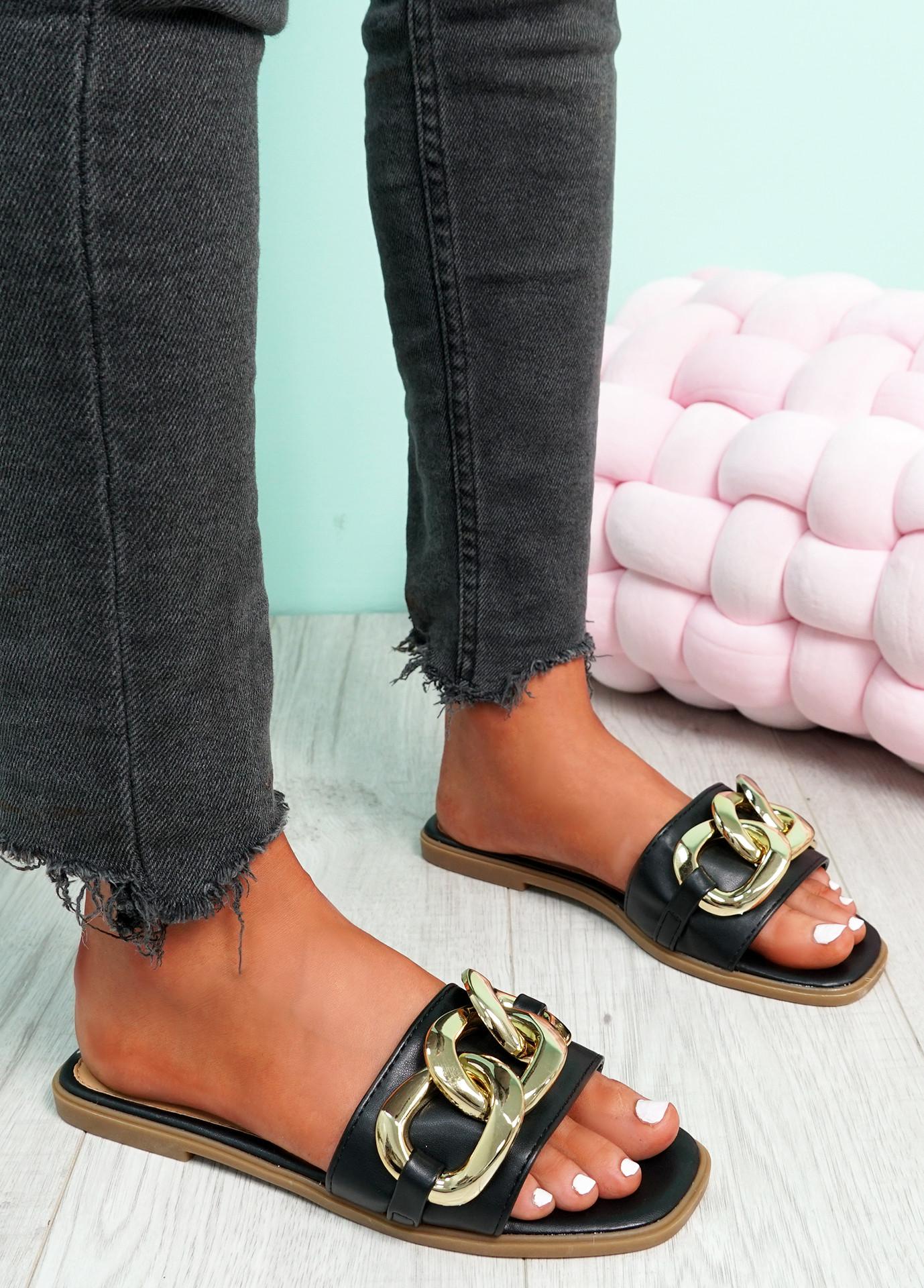 Merca Black Front Chain Flat Sandals