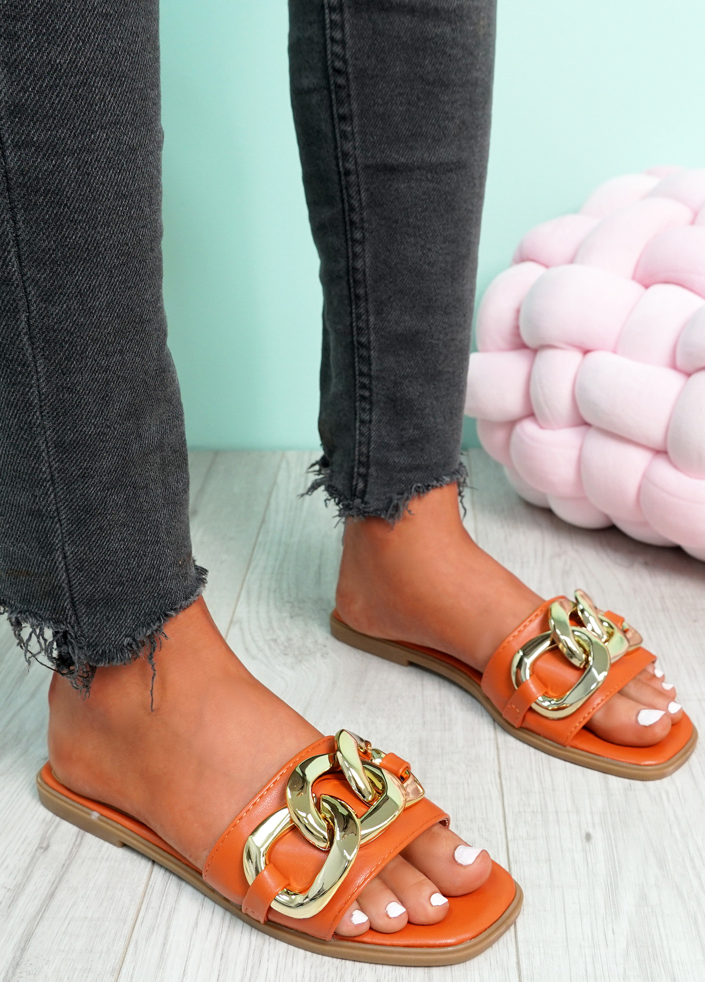 Merca Orange Front Chain Flat Sandals