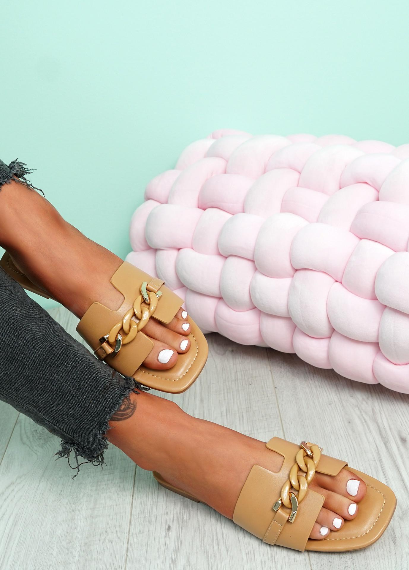 Trinna Khaki Front Chain Sandals