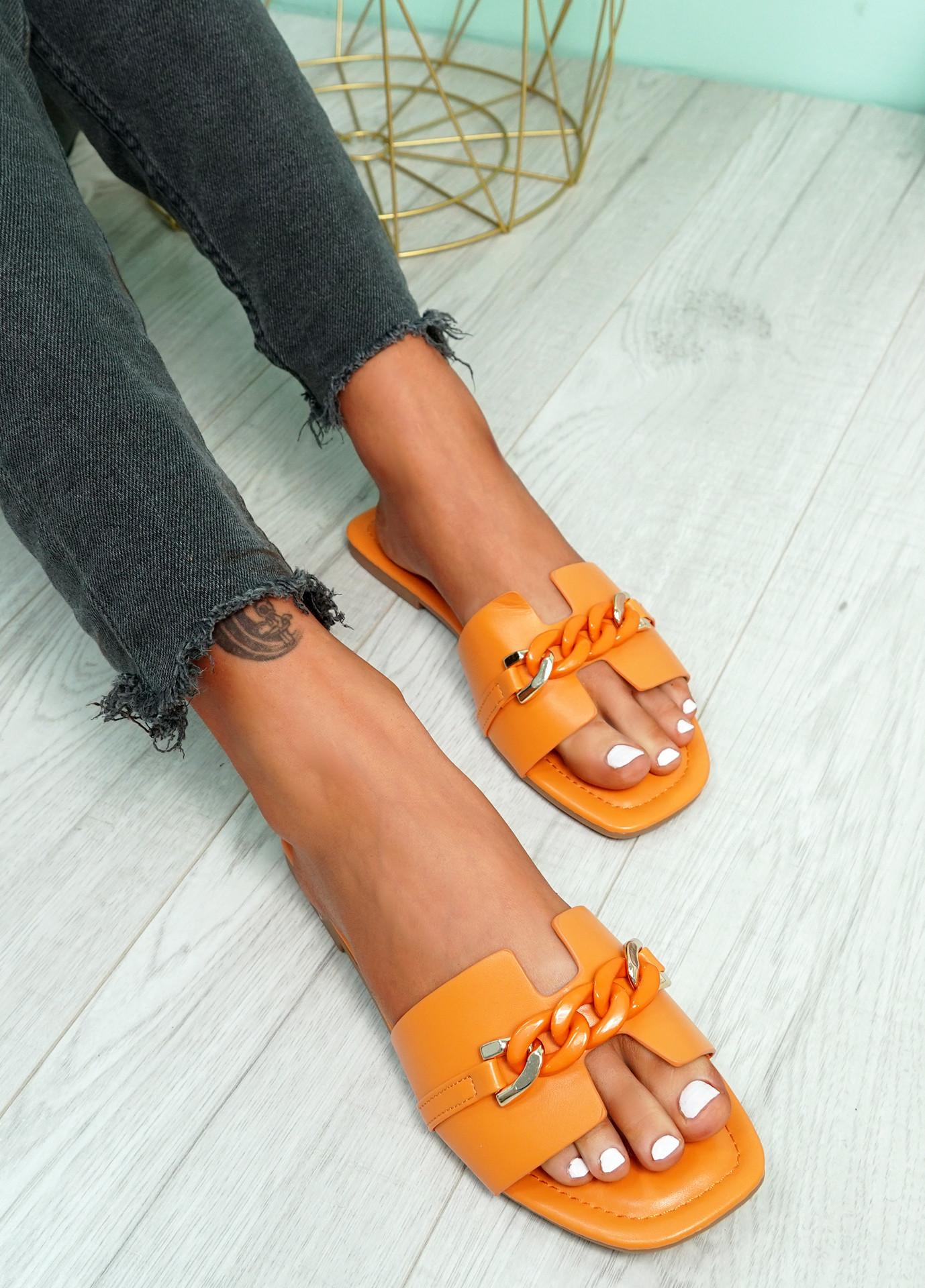 Trinna Orange Front Chain Sandals
