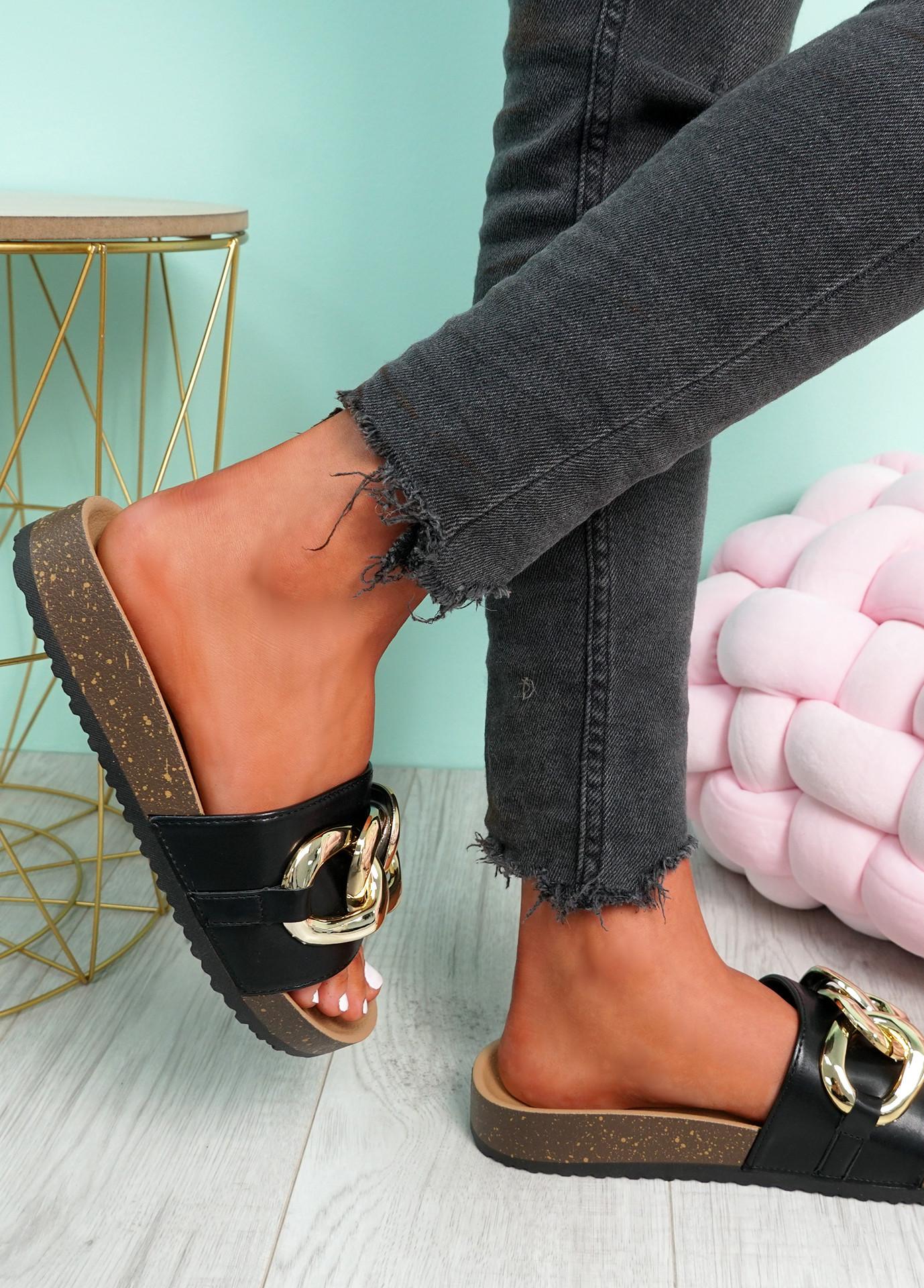 Samma Black Platform Chain Sandals
