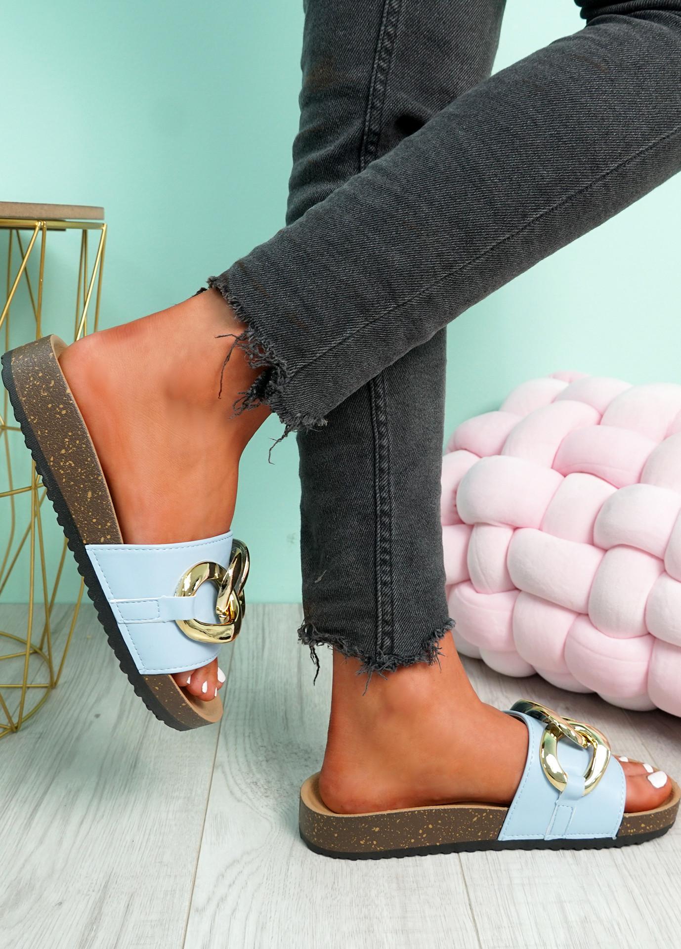 Samma Light Blue Platform Chain Sandals
