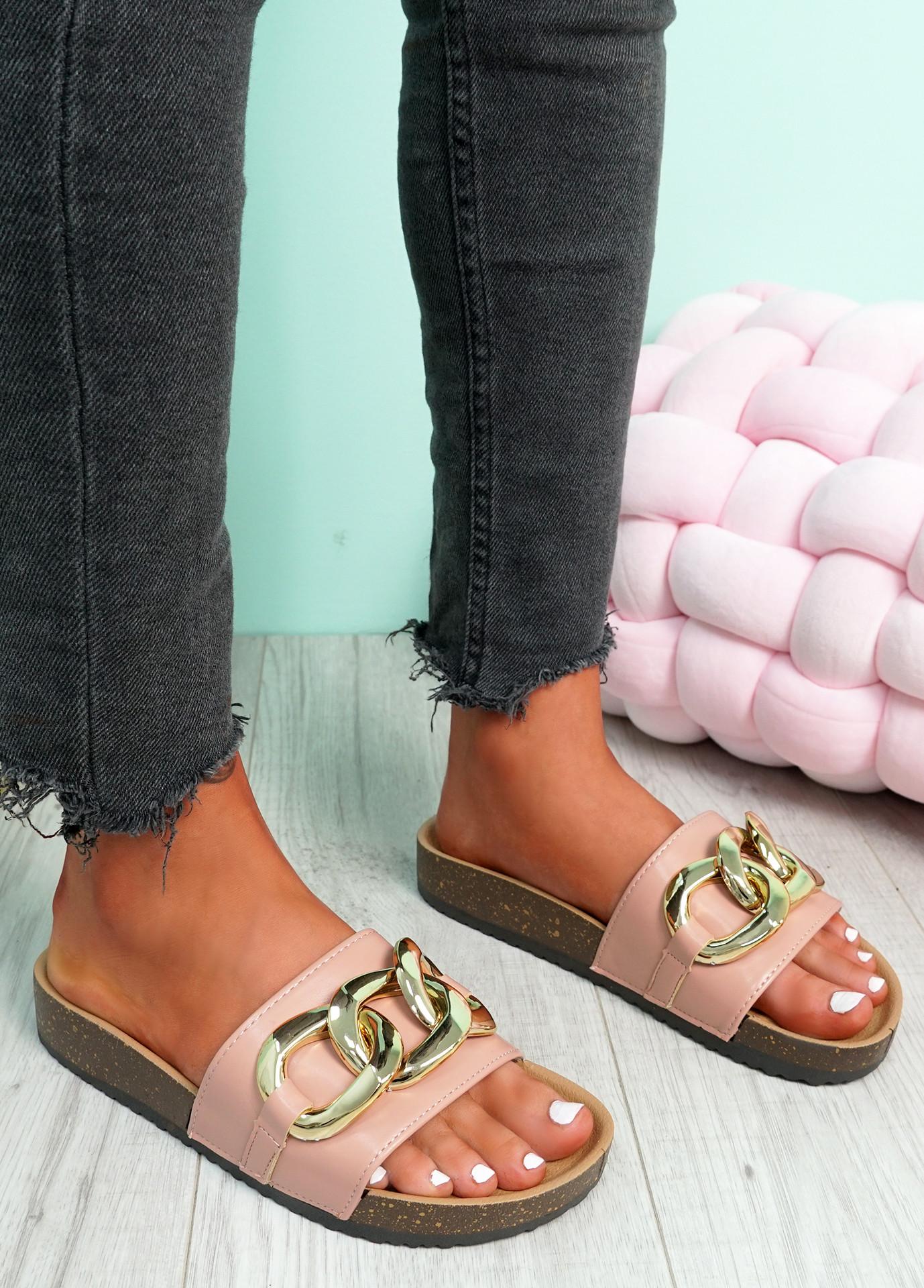Samma Pink Platform Chain Sandals