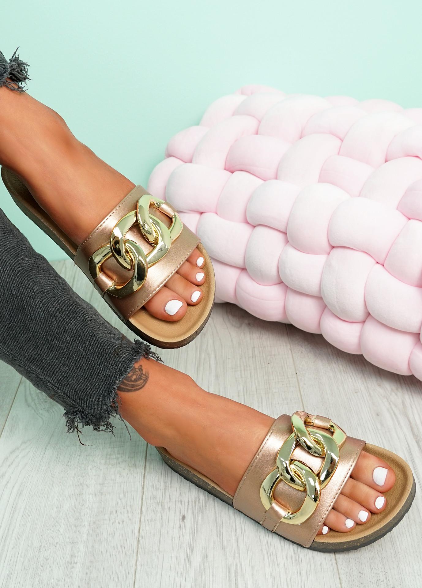Samma Rose Gold Platform Chain Sandals