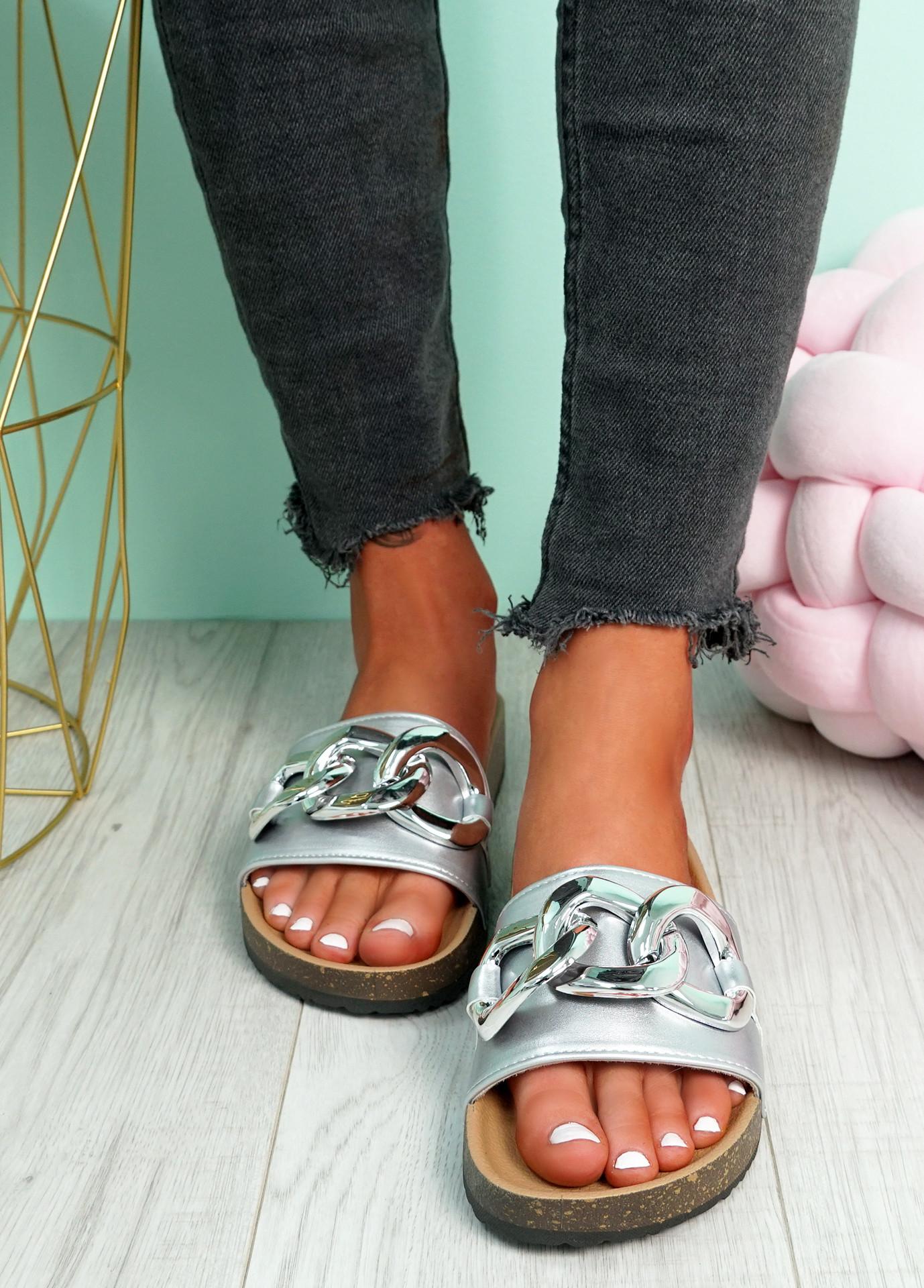 Samma Silver Platform Chain Sandals
