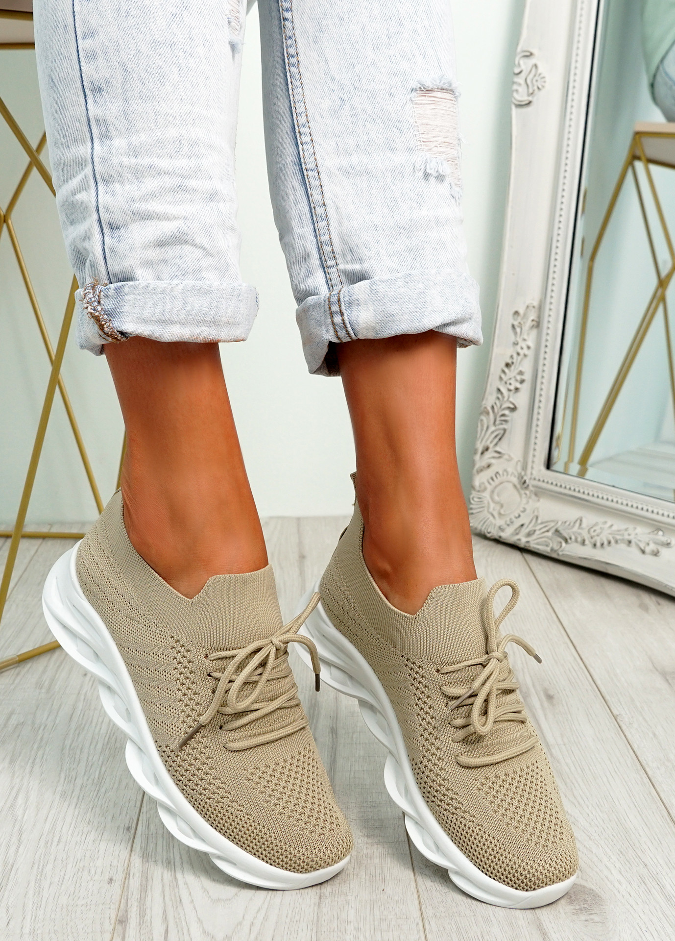 Canny Beige Slip On Trainers