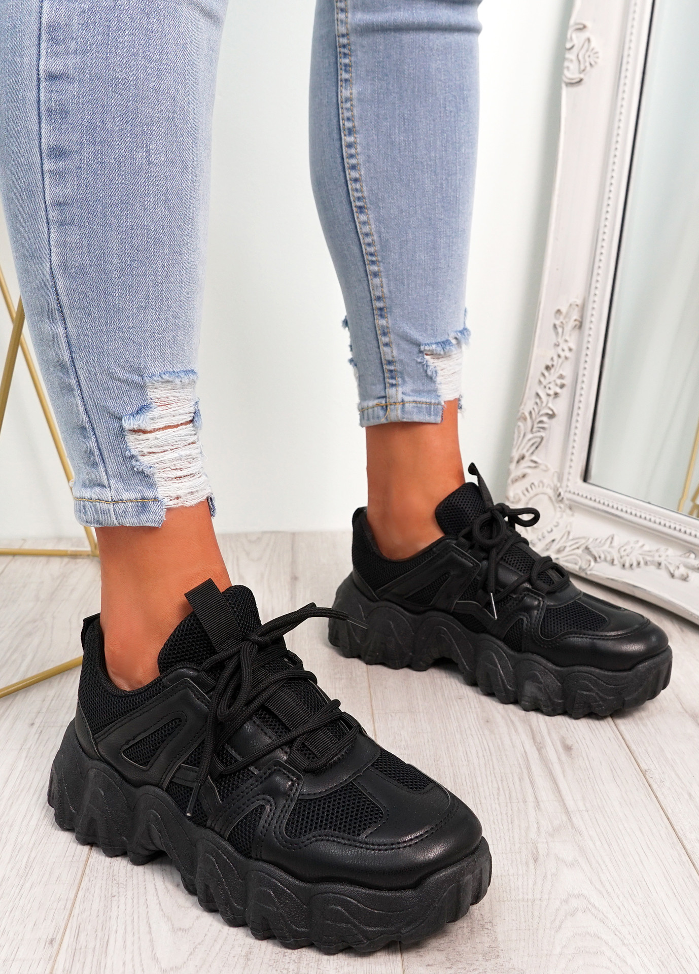 Lanny Black Chunky Sport Trainers
