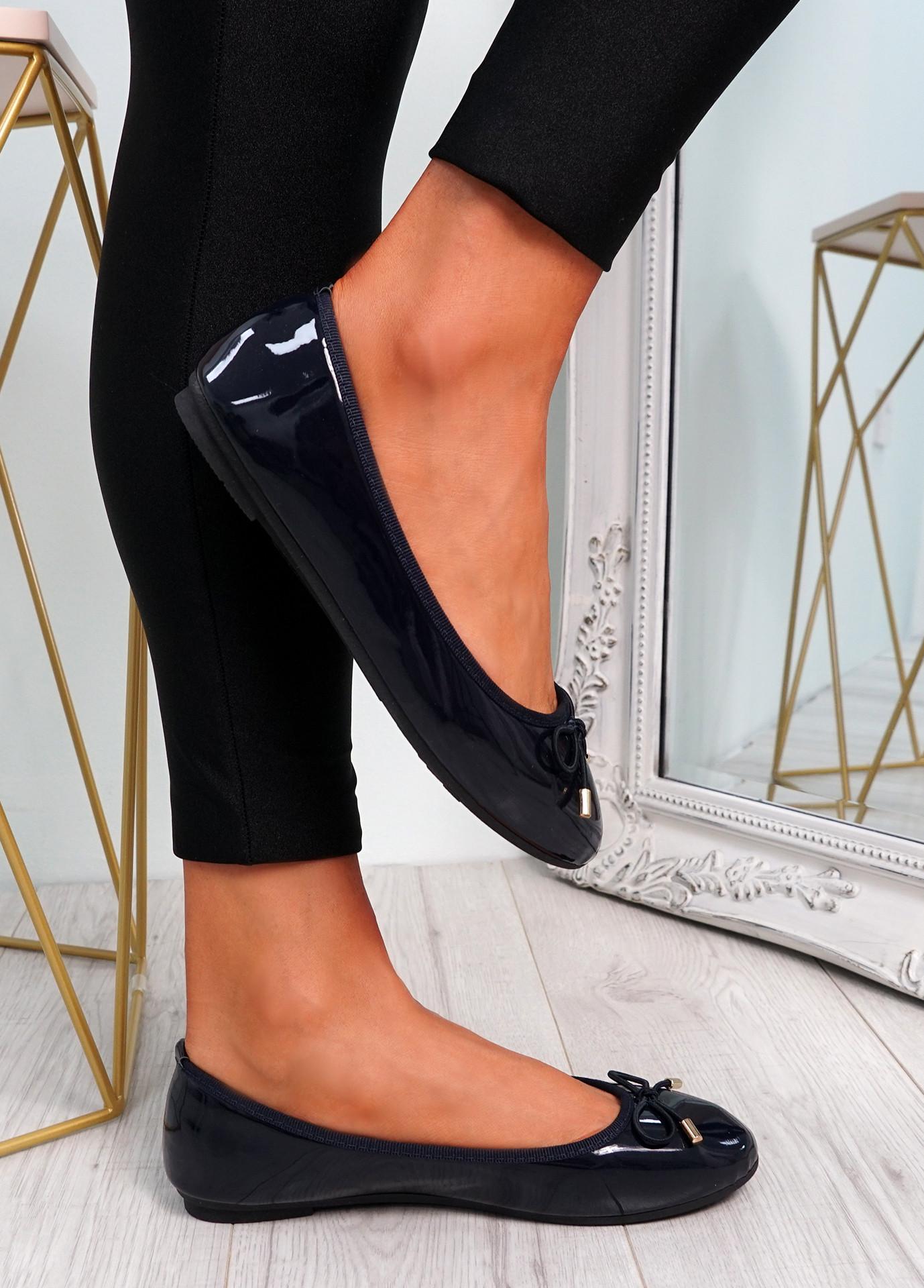 Tremo Dark Blue Slip On Ballerinas