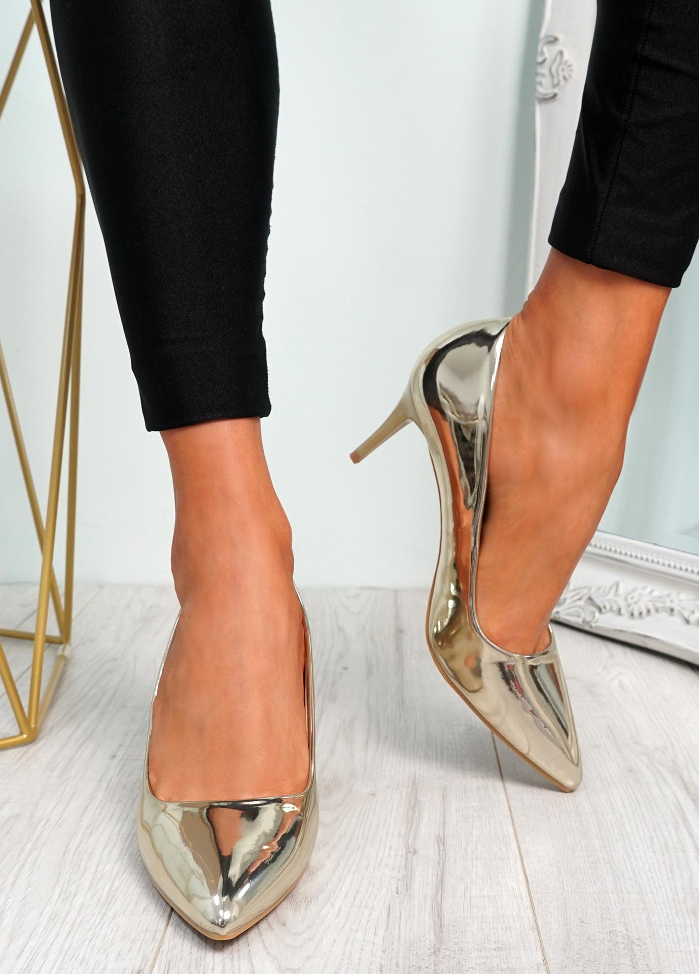 Votty Gold Stiletto Heel Pumps