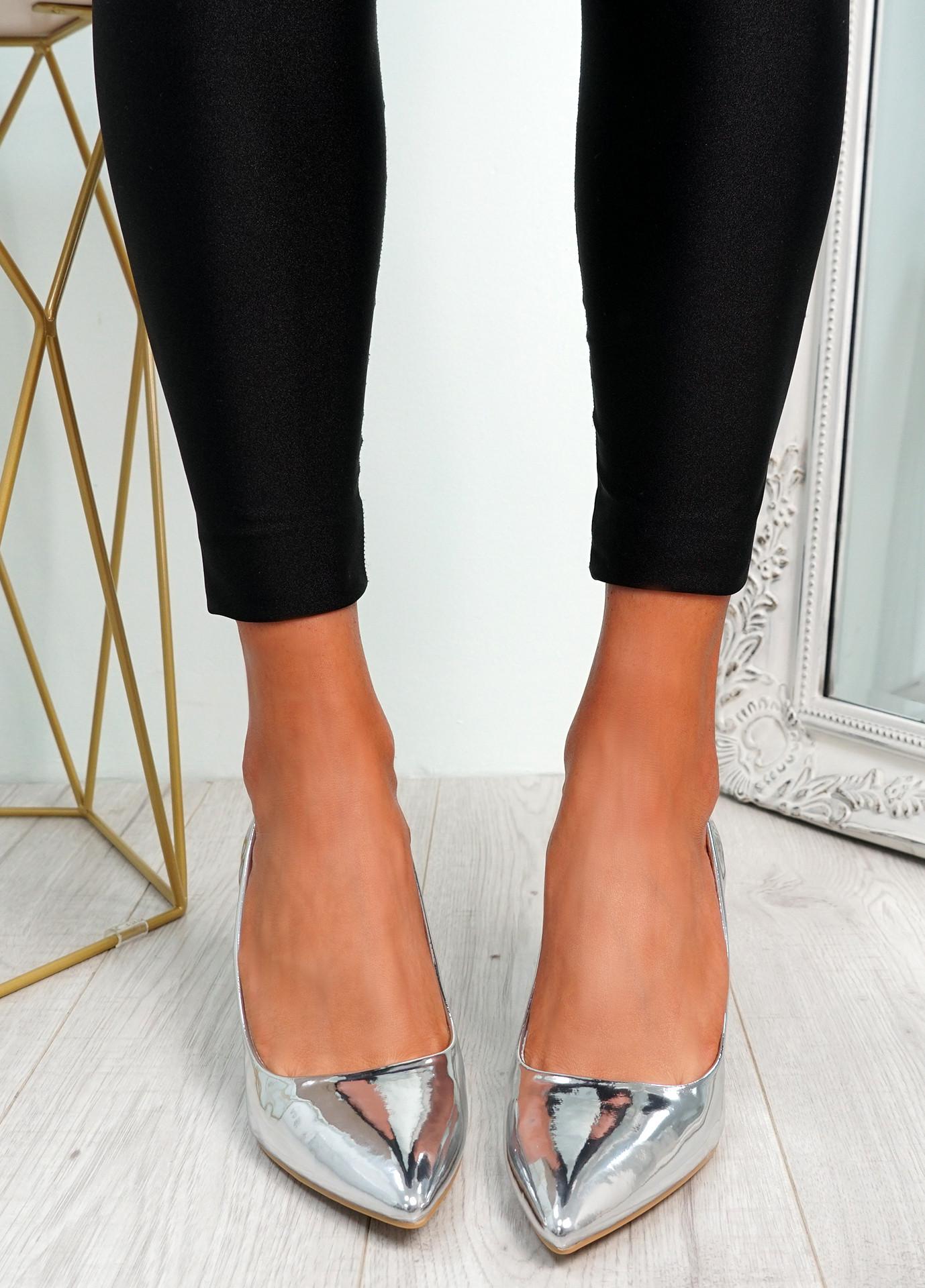 Votty Silver Stiletto Heel Pumps