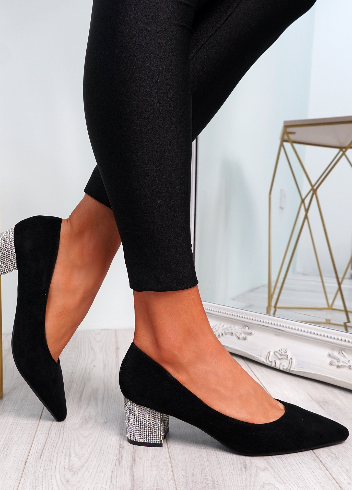 Chami Black Studded Block Heel Pumps