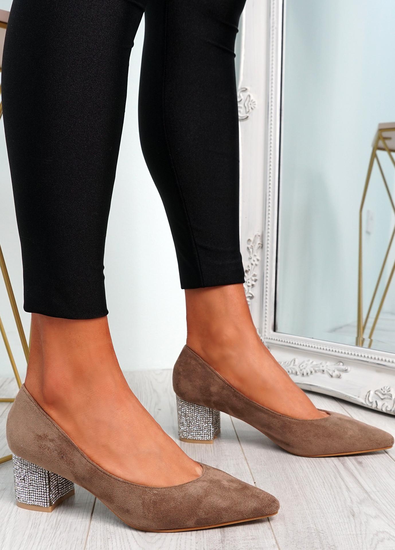 Chami Khaki Studded Block Heel Pumps