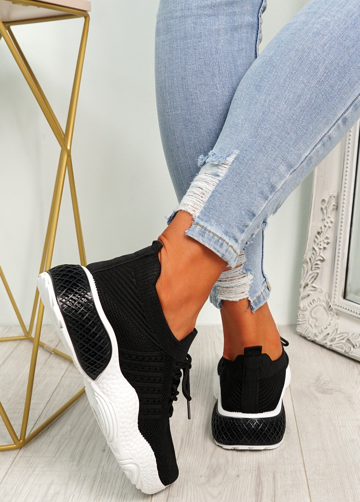 Nelly Black Knit Running Trainers