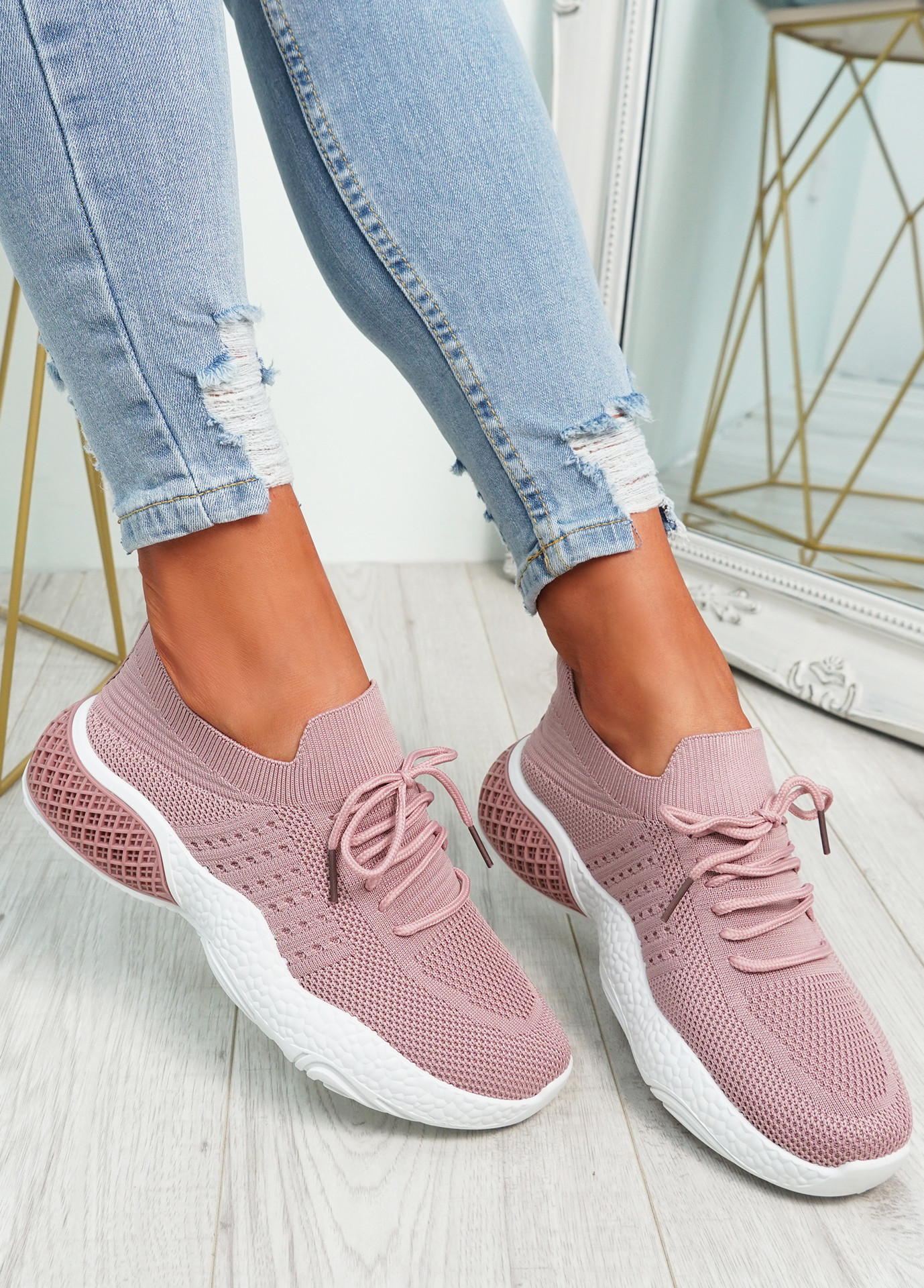 Nelly Pink Knit Running Trainers