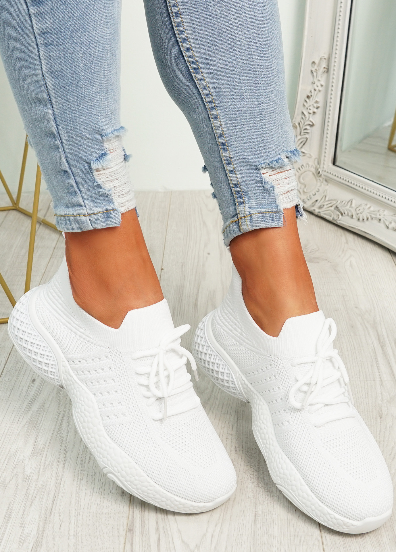 Nelly White Knit Running Trainers