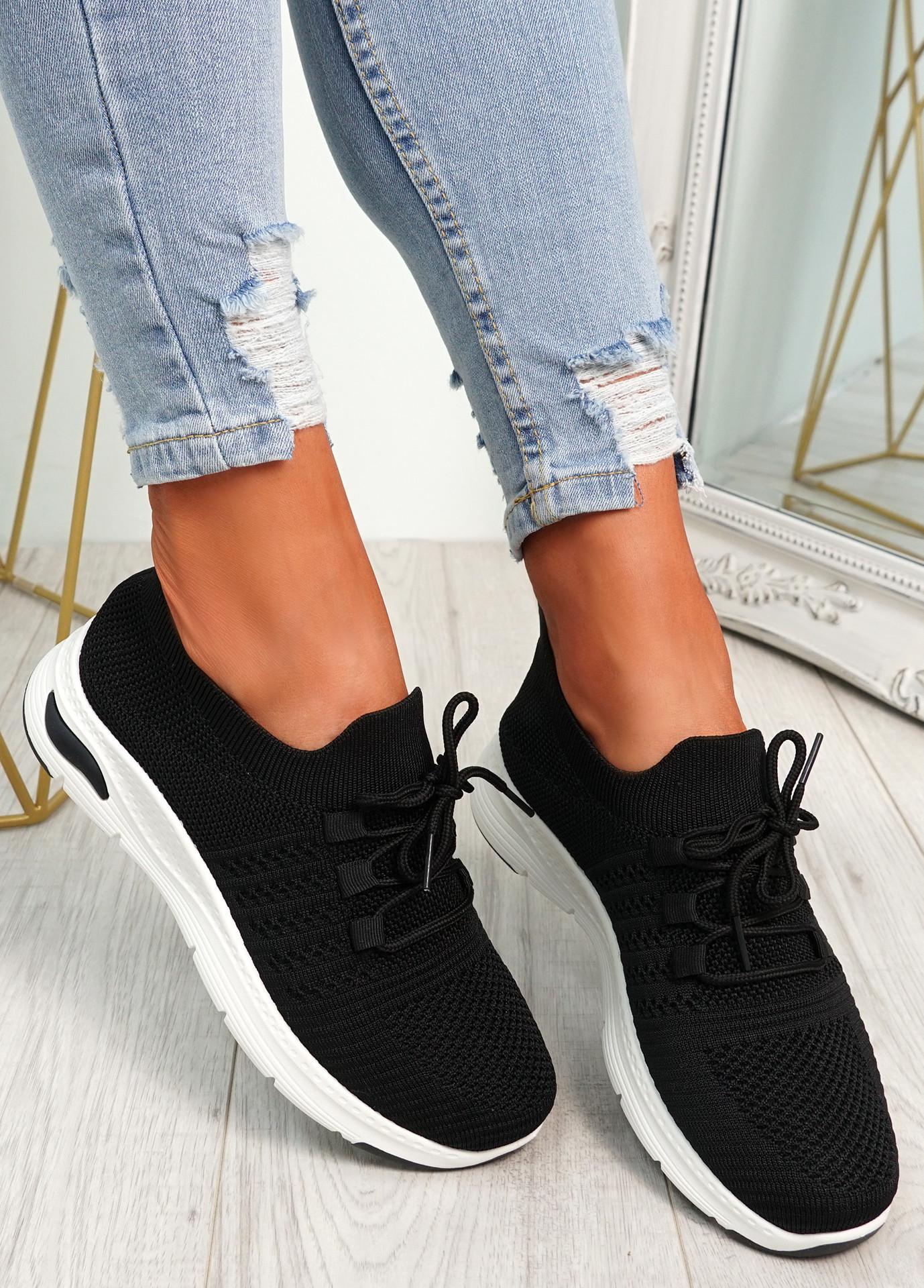 Lolla Black Knit Sneakers