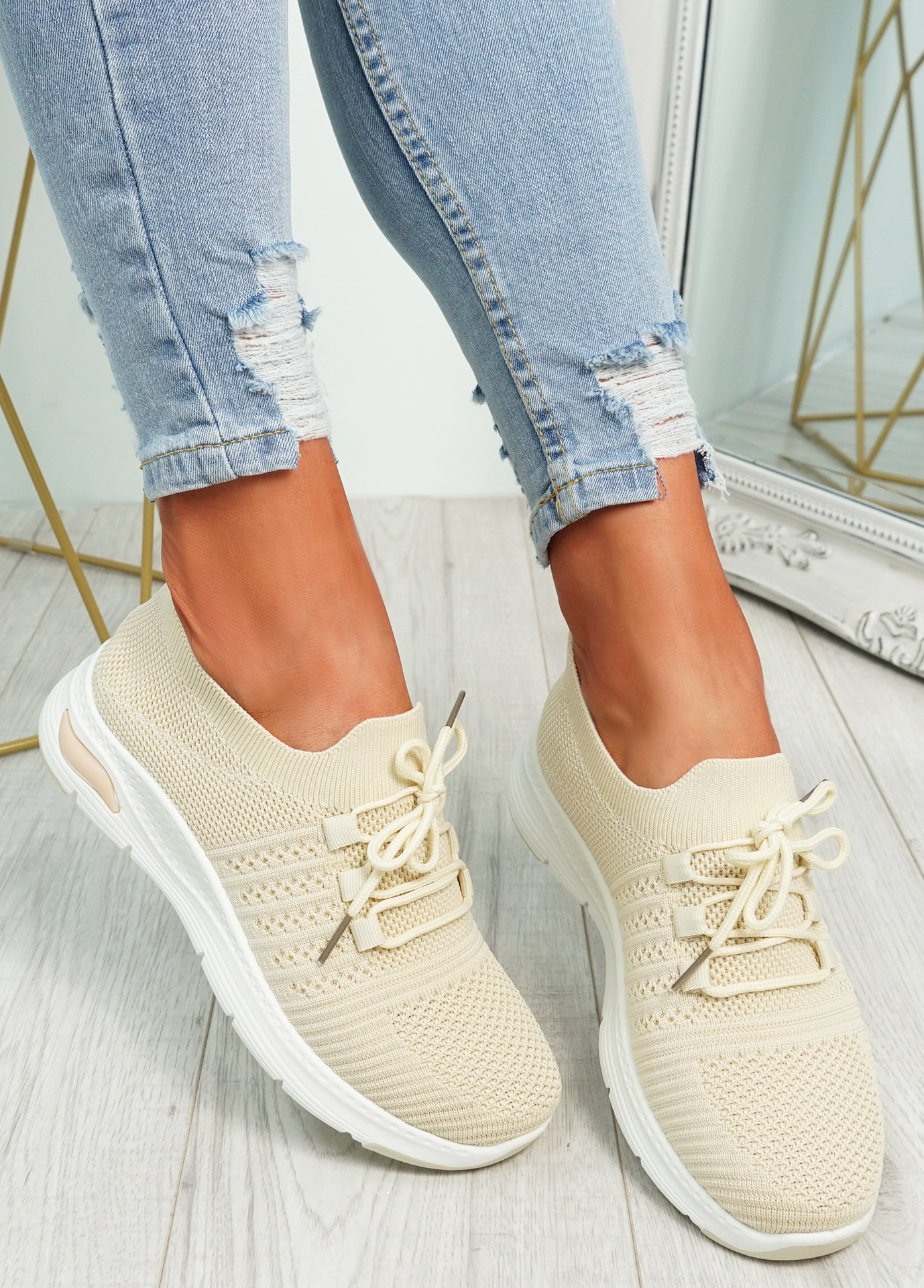 Lolla Beige Knit Sneakers