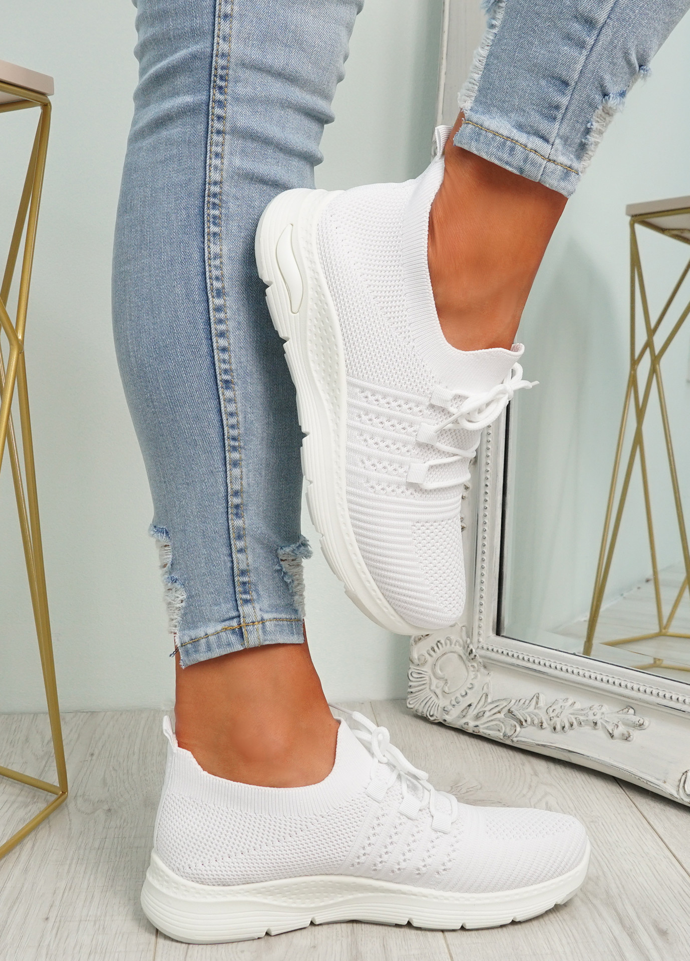 Lolla White Knit Sneakers