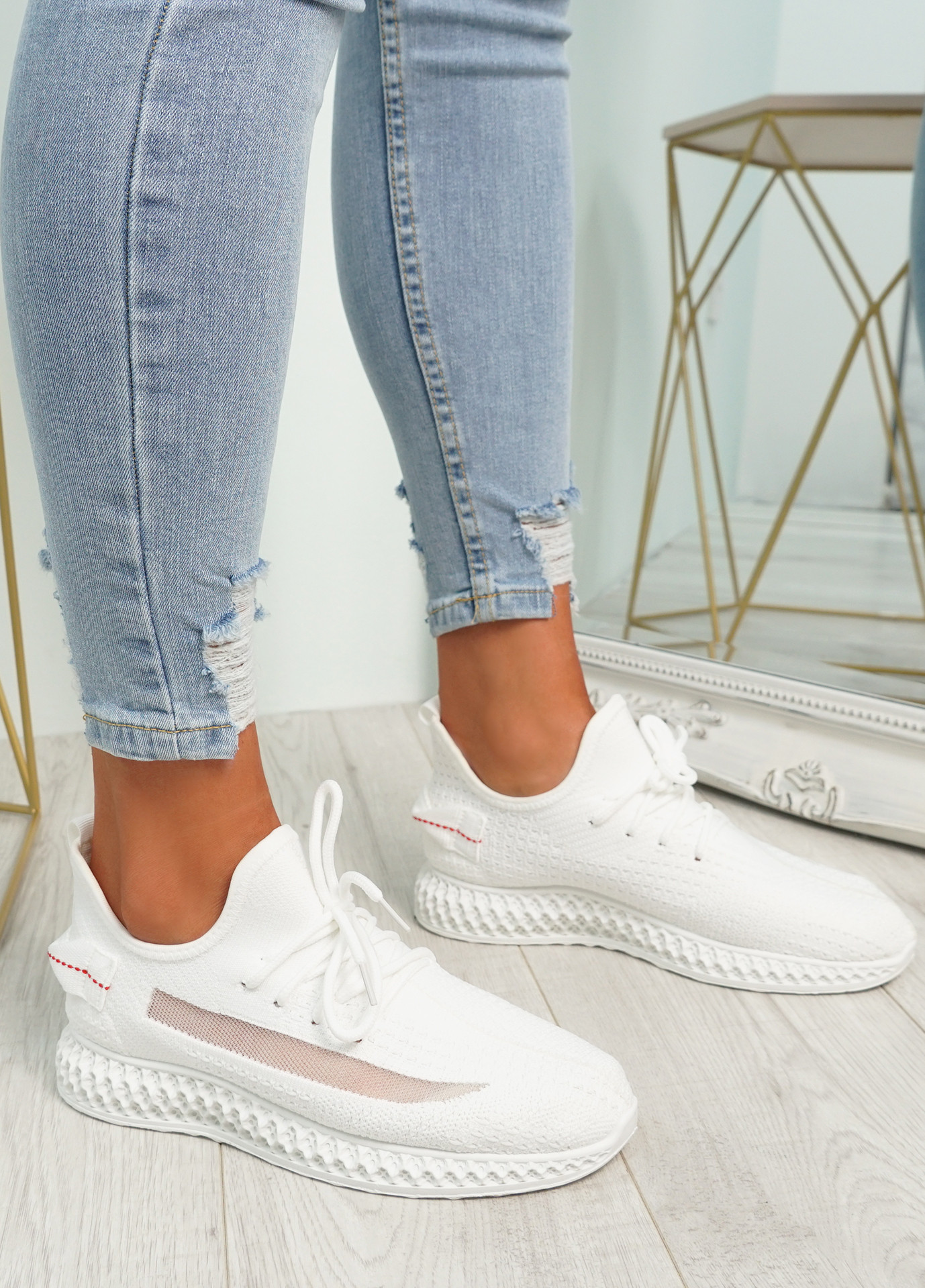 Mirra White Knit Trainers