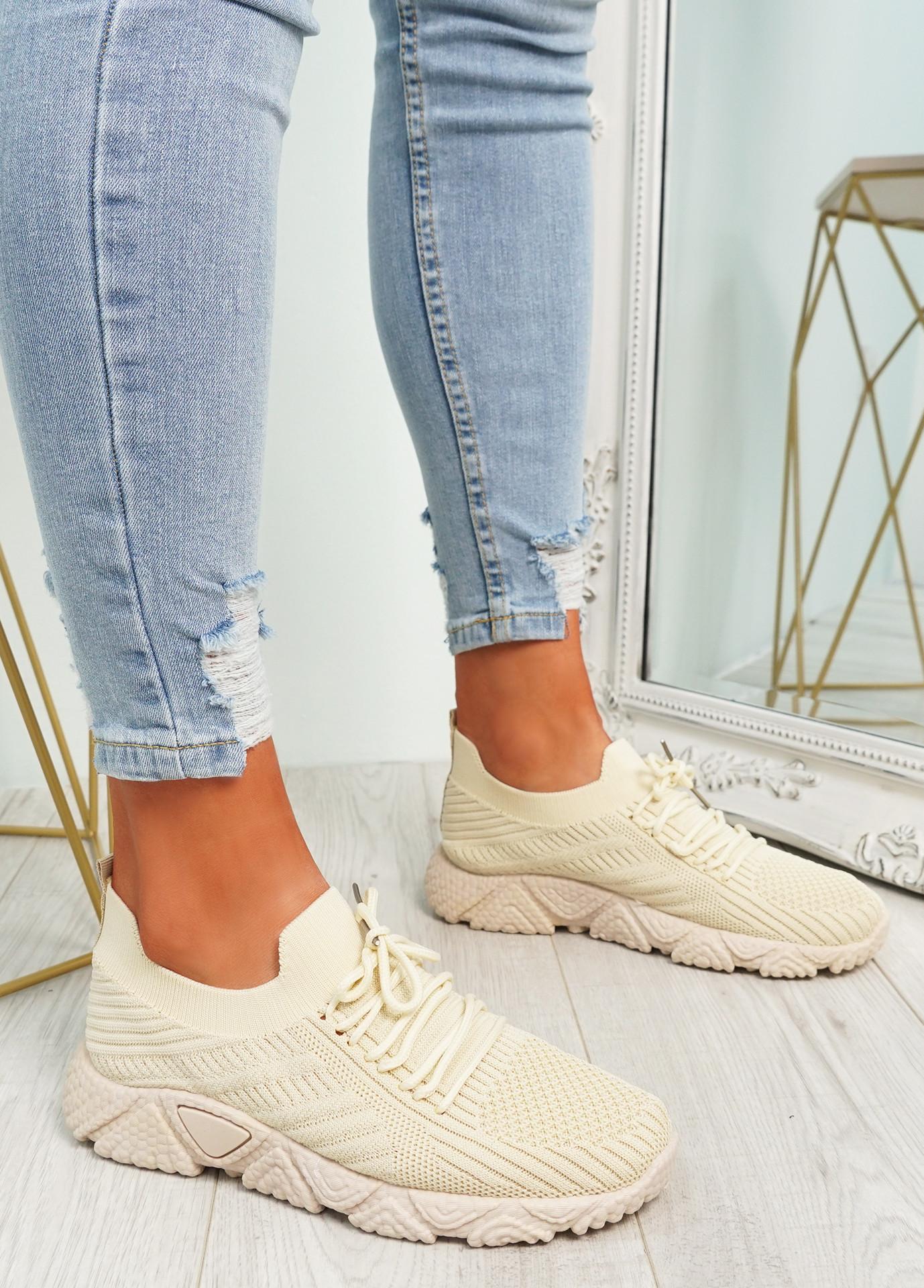 Brammi Beige Knit Sneakers