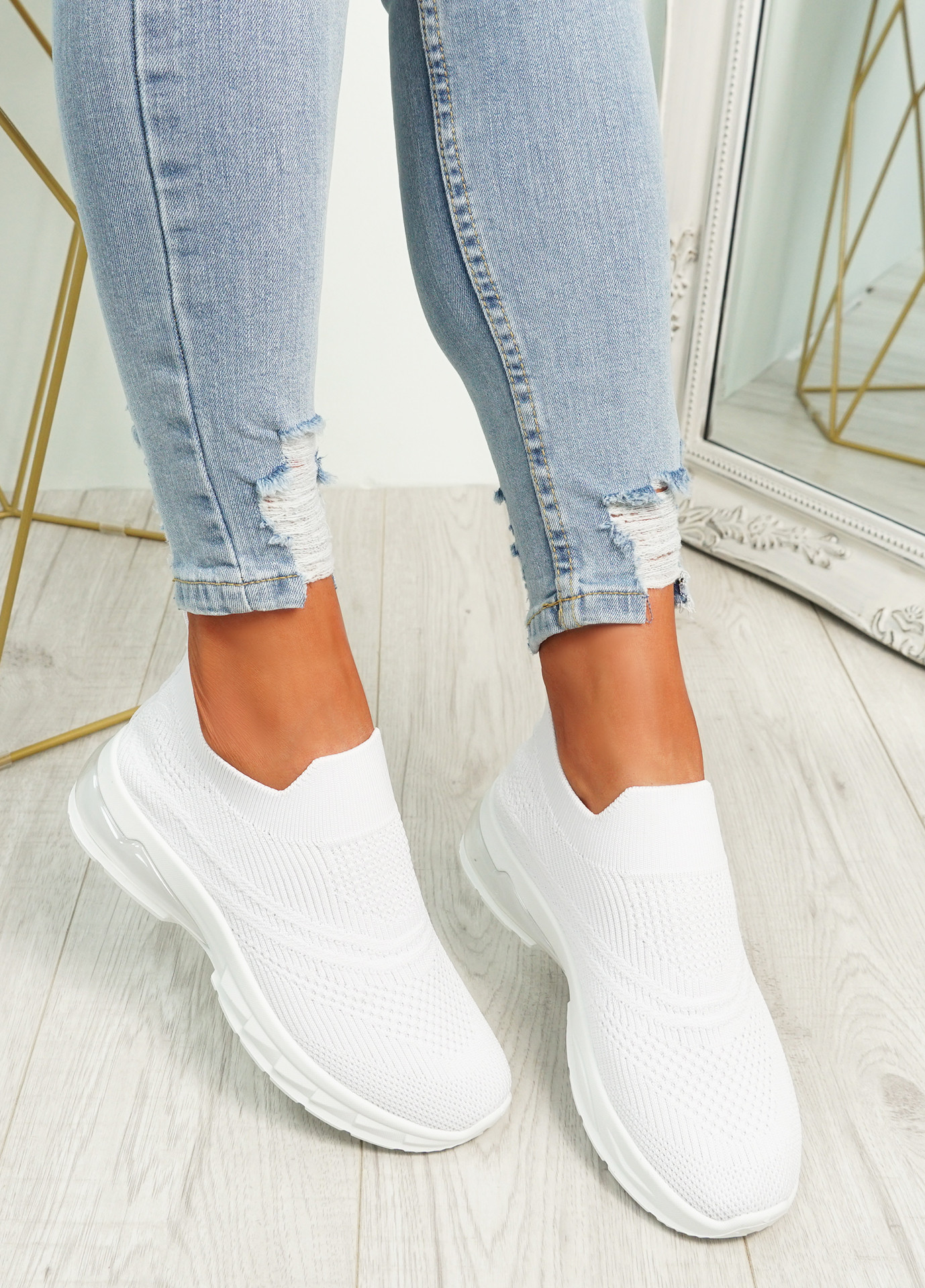 Laffy White Slip On Knit Trainers