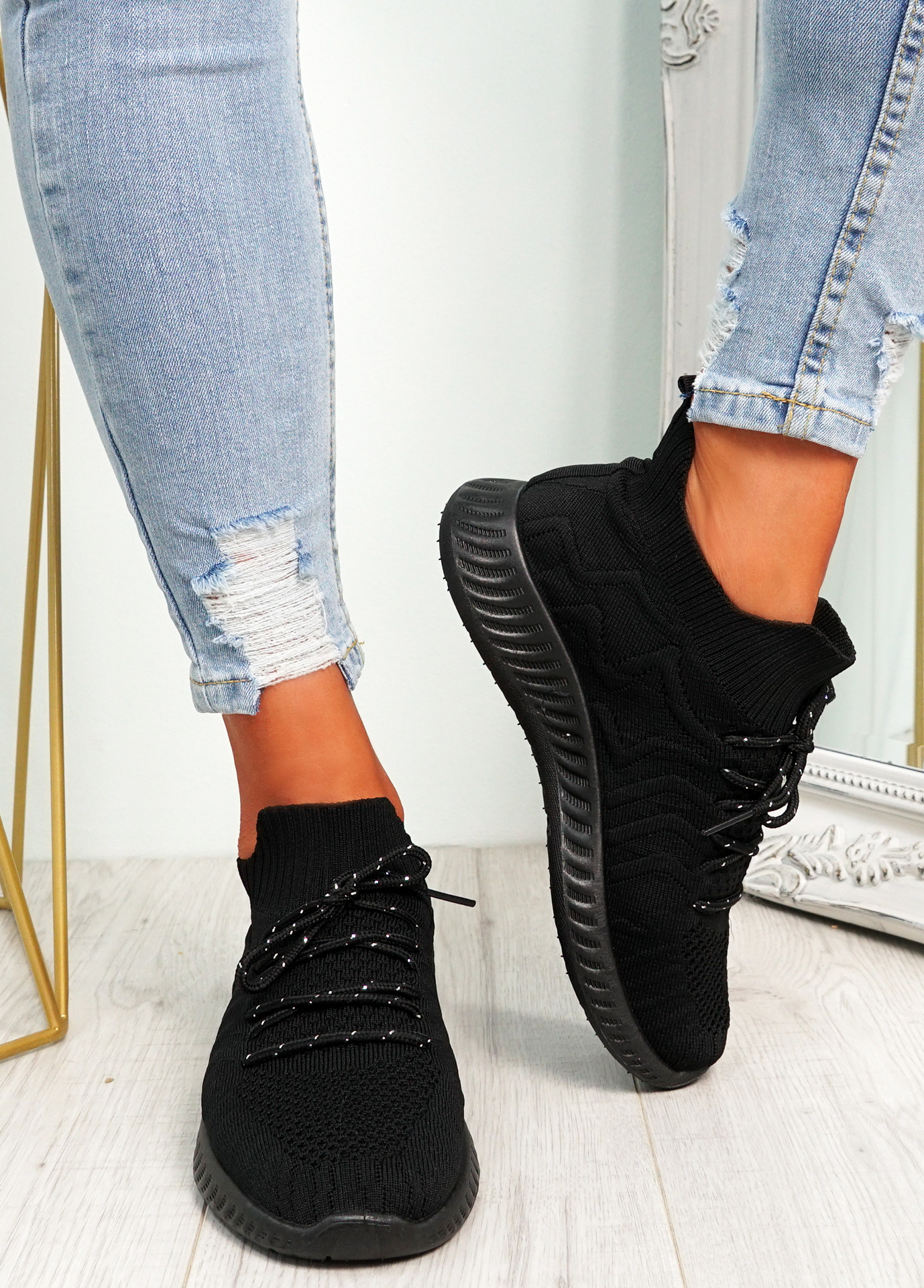 Fanno Black Knit Sport Sneakers