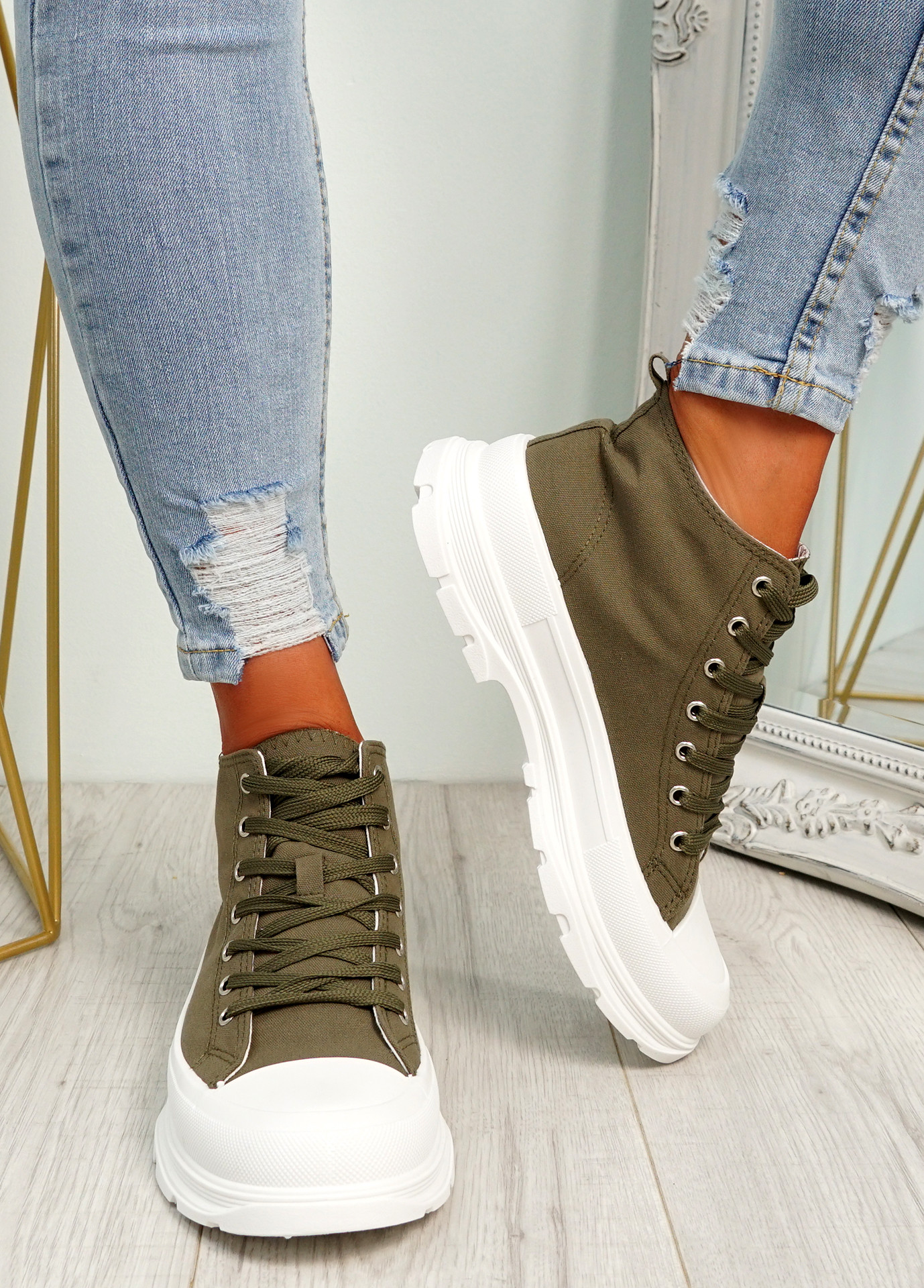 Nobby Green Platform Trainers