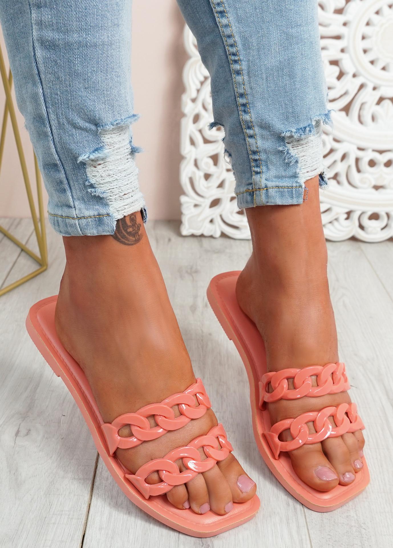 Terry Orange Front Chain Flat Sandals