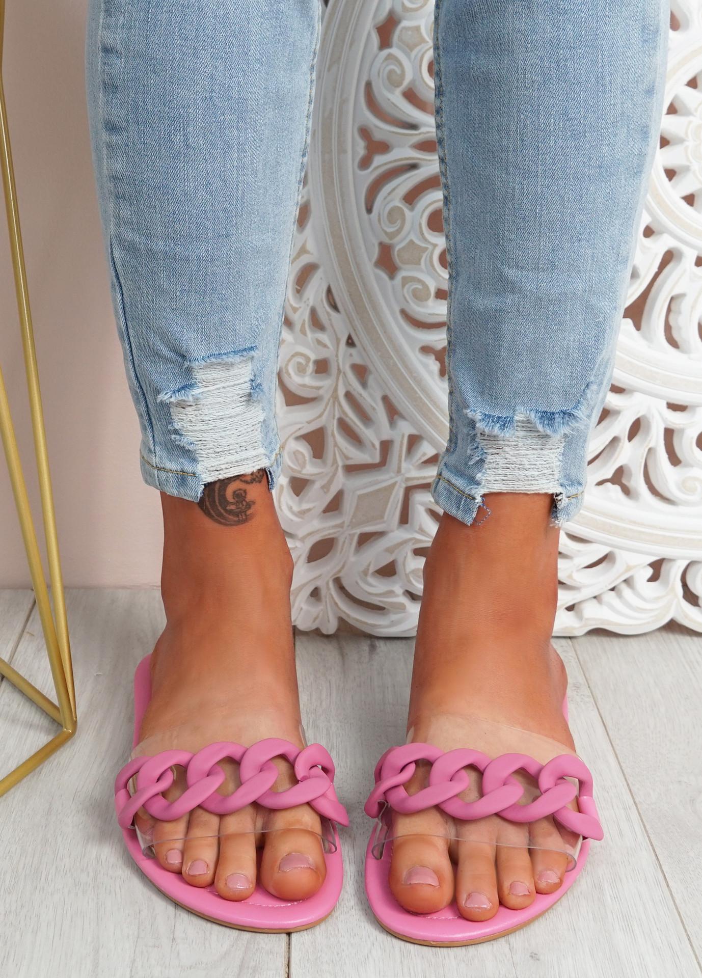 Vemma Fuchsia Slip On Flat Sandals