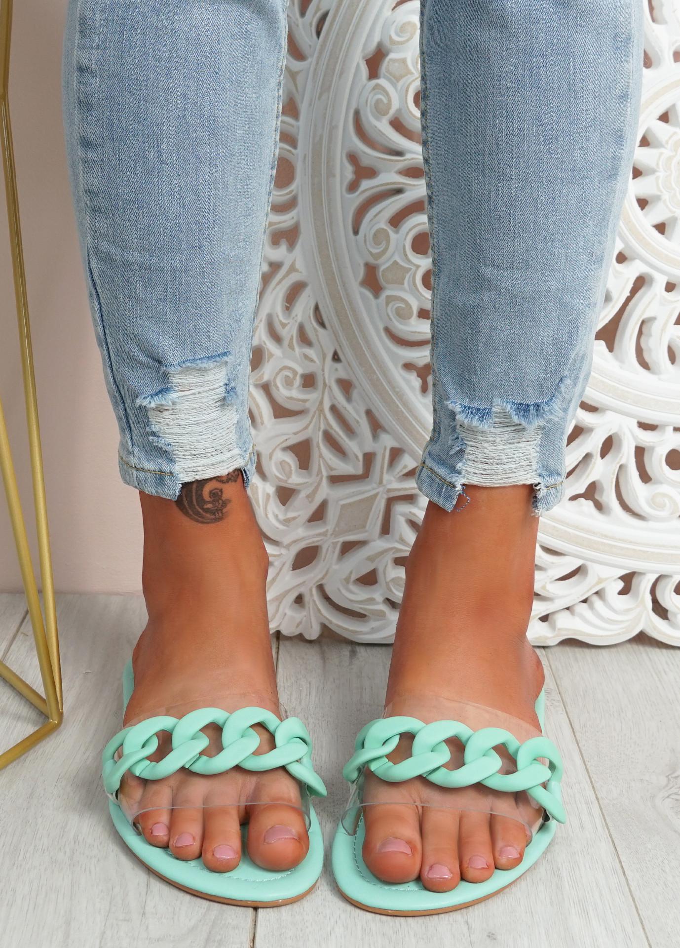 Vemma Green Slip On Flat Sandals