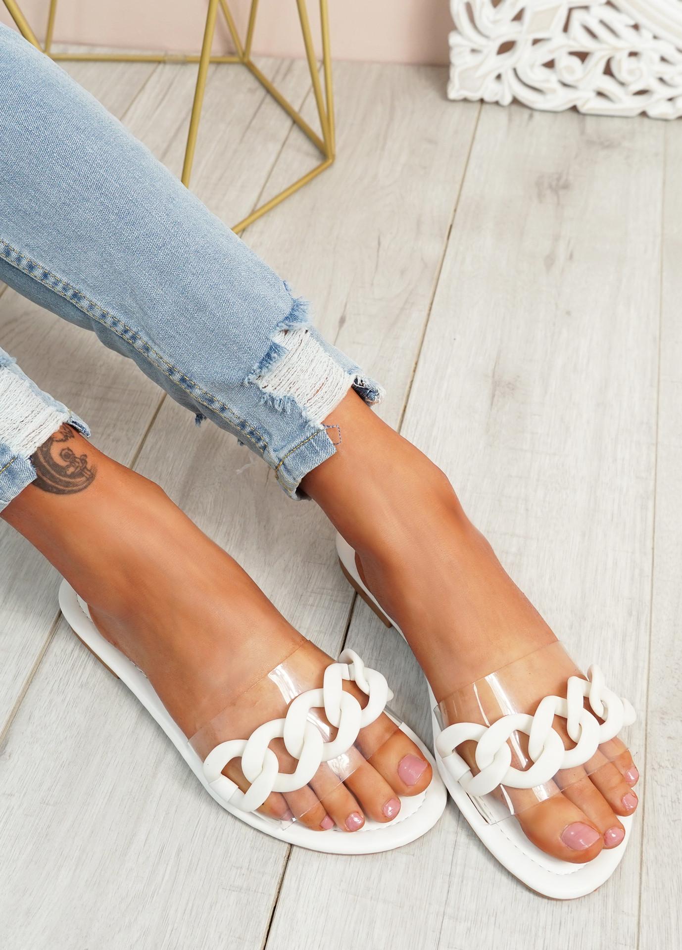 Vemma White Slip On Flat Sandals