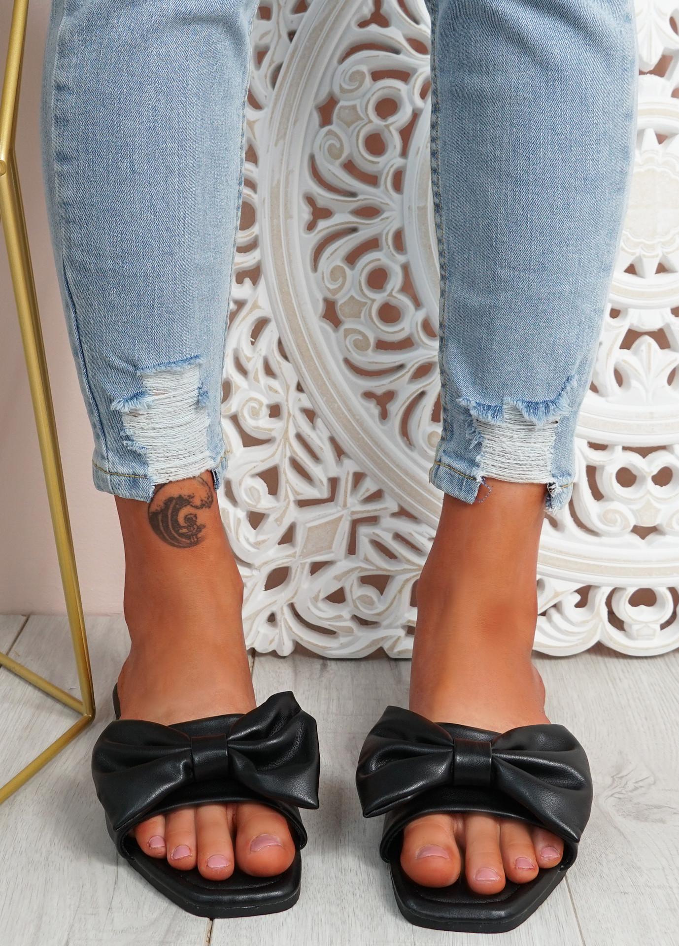 Nito Black Bow Flat Sandals