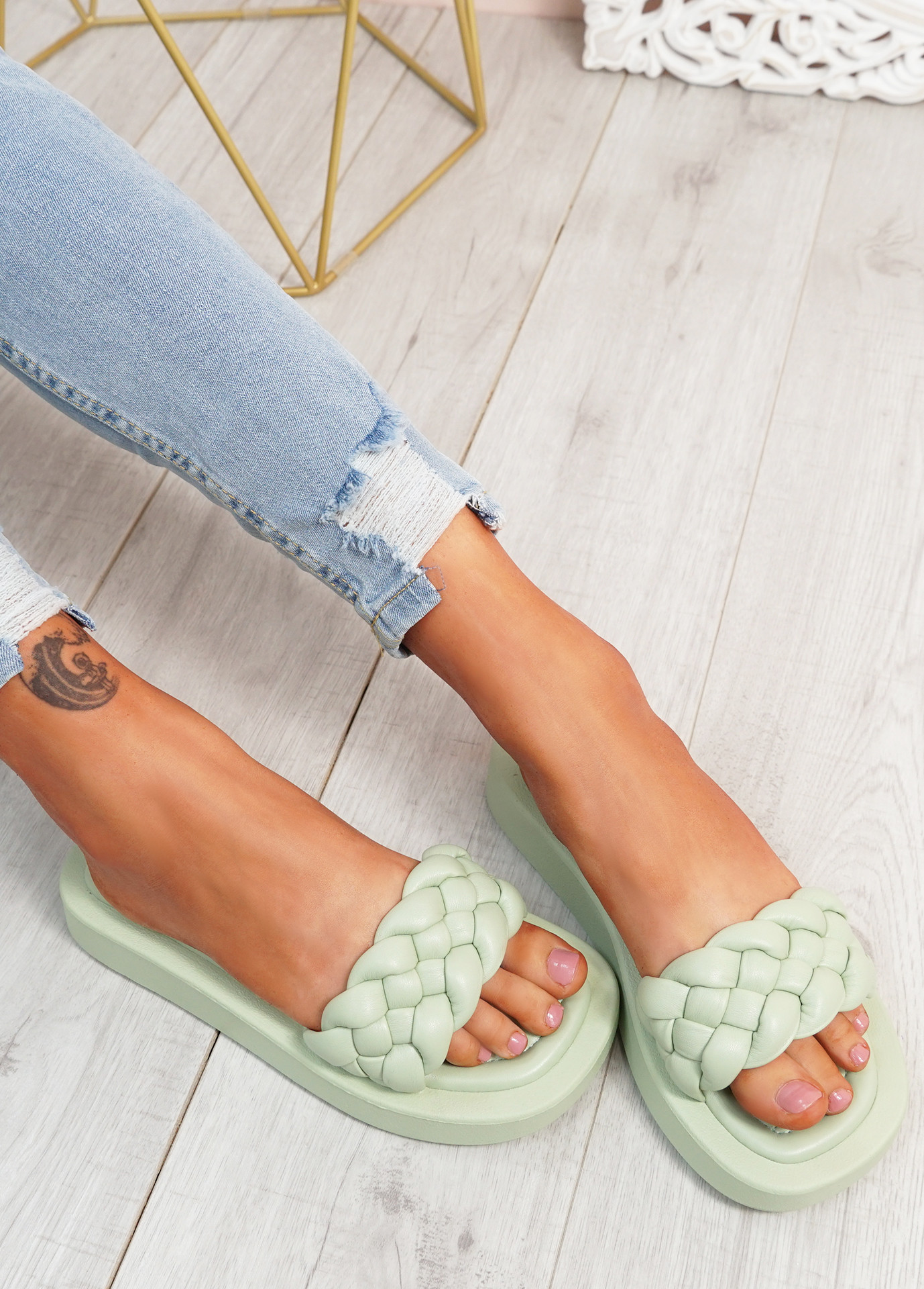 Ceny Green Braided Flat Sandals
