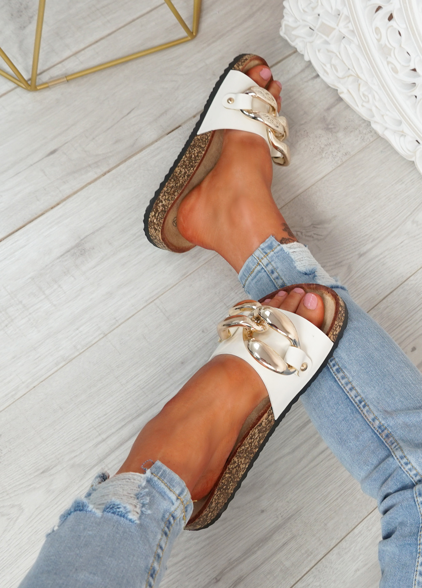 Serena White Front Buckle Flat Sandals